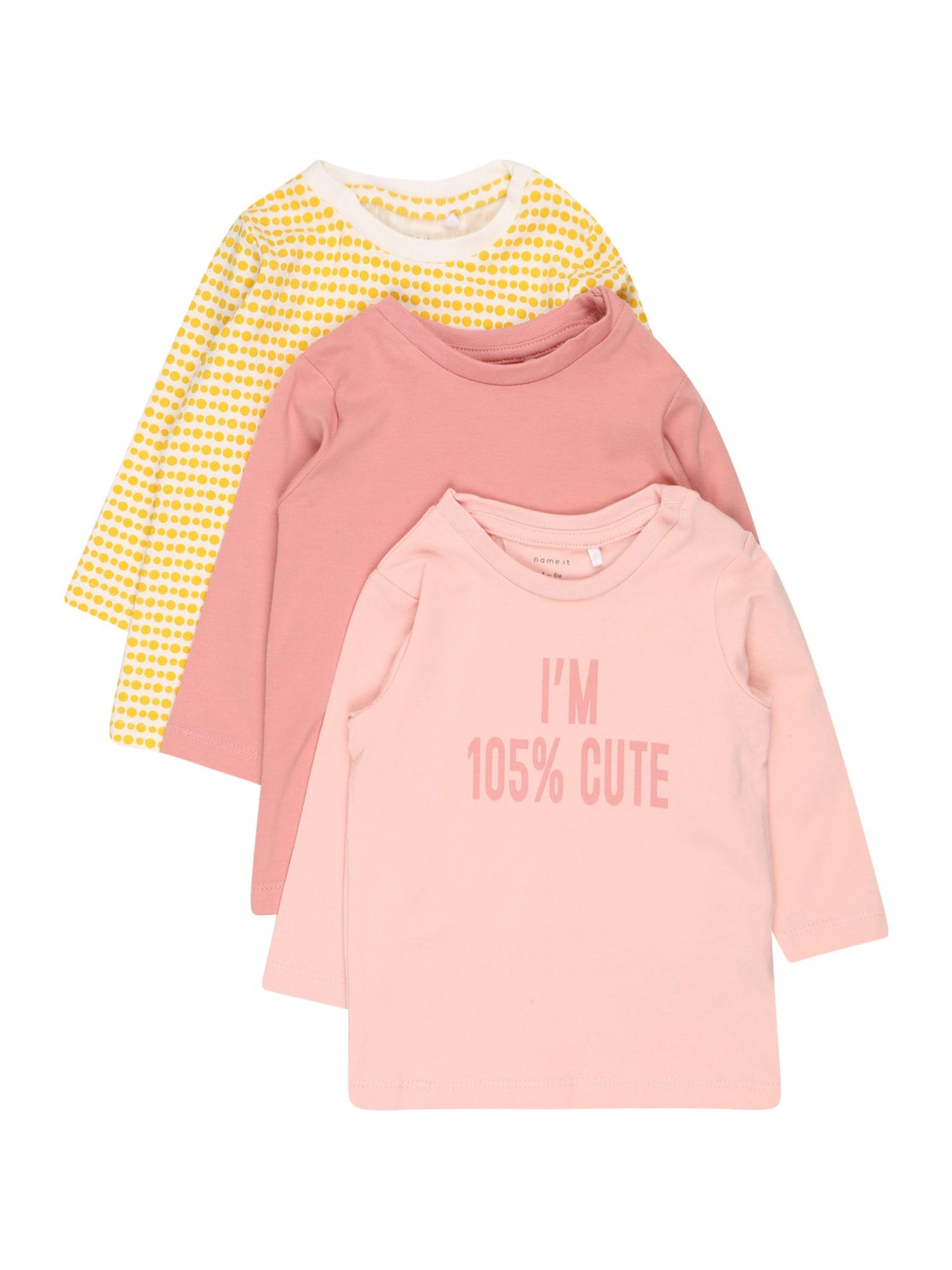 NAME IT Marškinėliai rožių spalva / pastelinė rožinė / geltona / balta