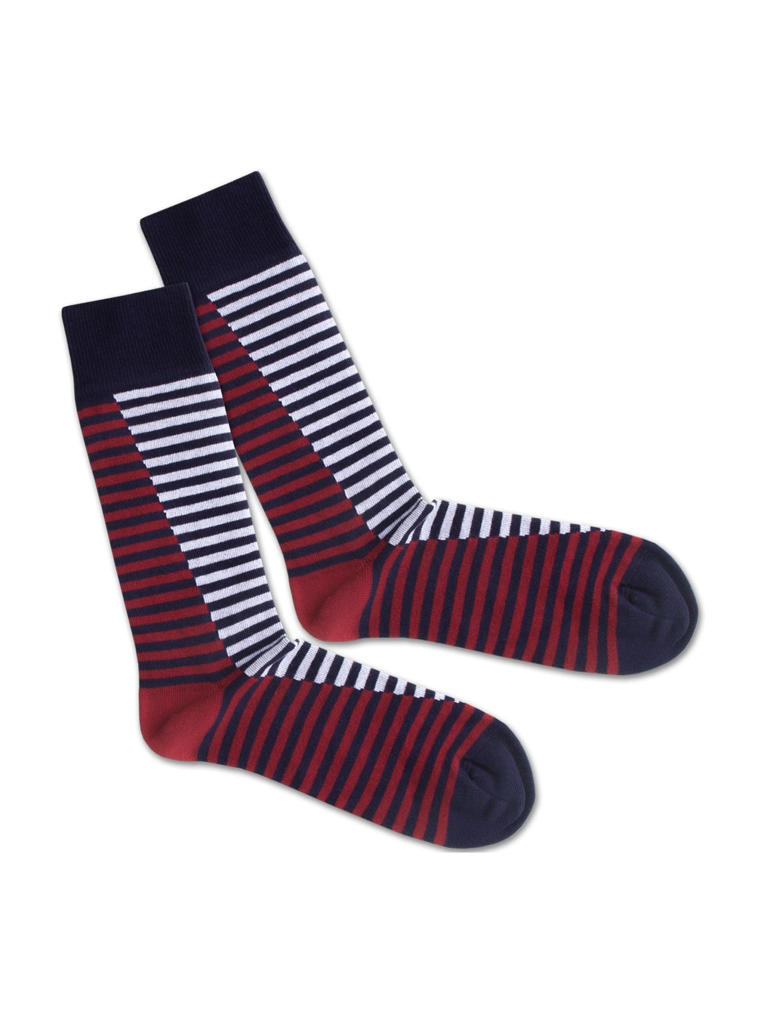 DillySocks Ponožky 'SS20-08 Double Sea Liner'  bílá / tmavě modrá / červená