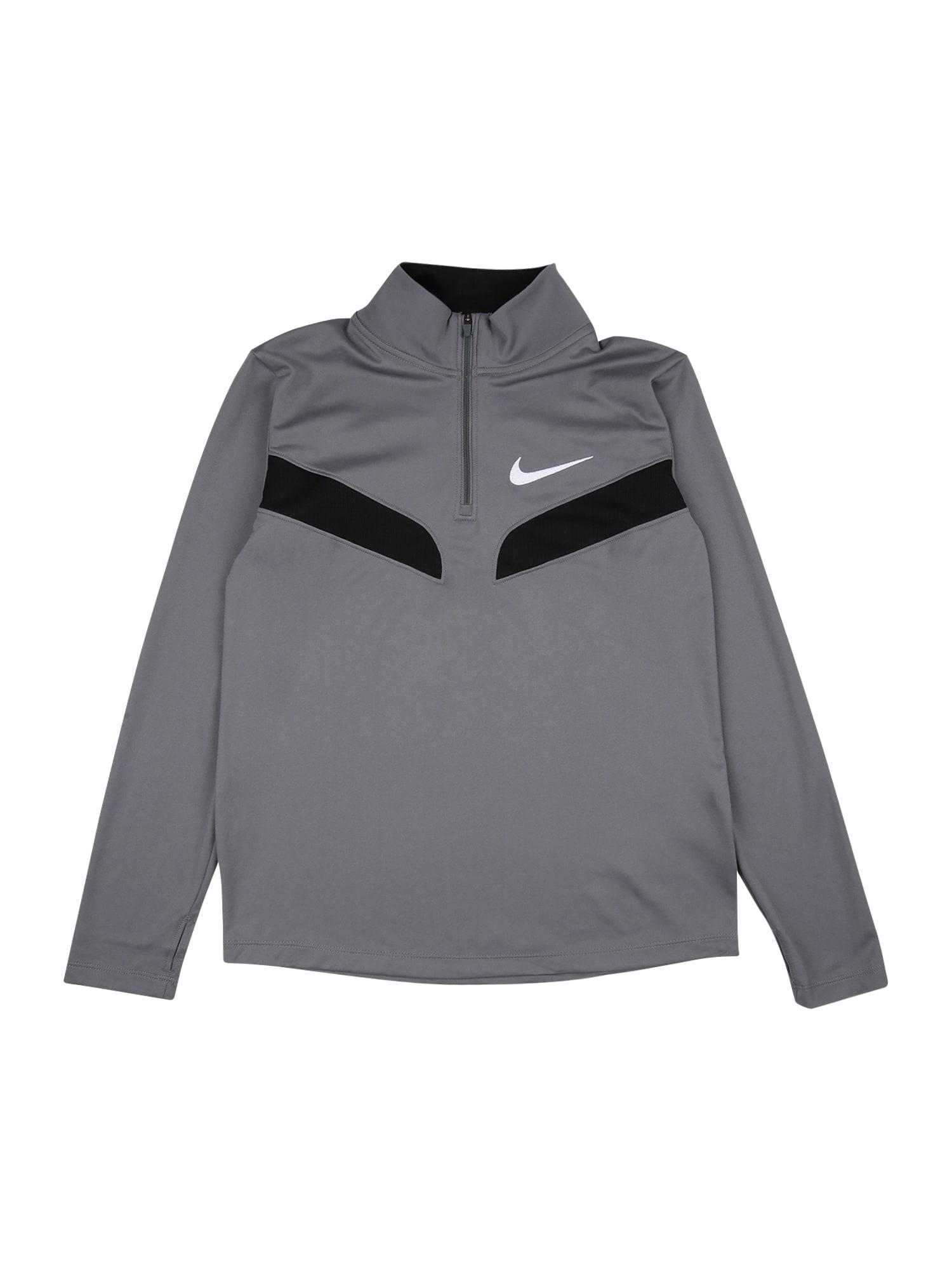 NIKE Sportinio tipo megztinis pilka / juoda / balta