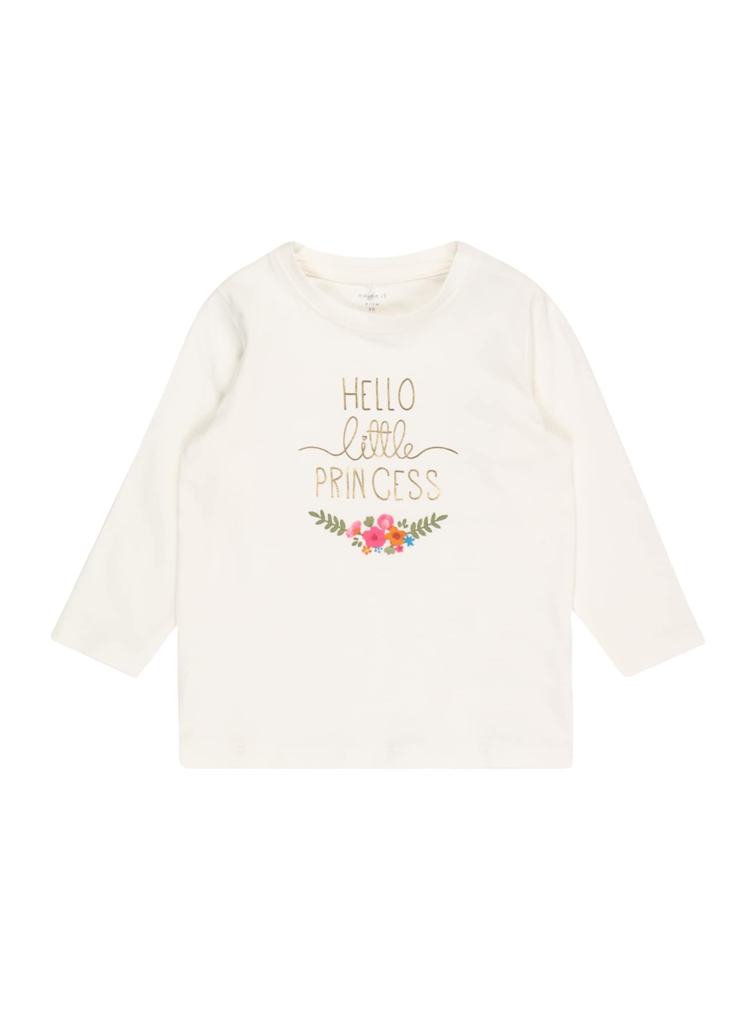 NAME IT Marškinėliai 'BIANCA' balta / auksas / žalia / rožinė