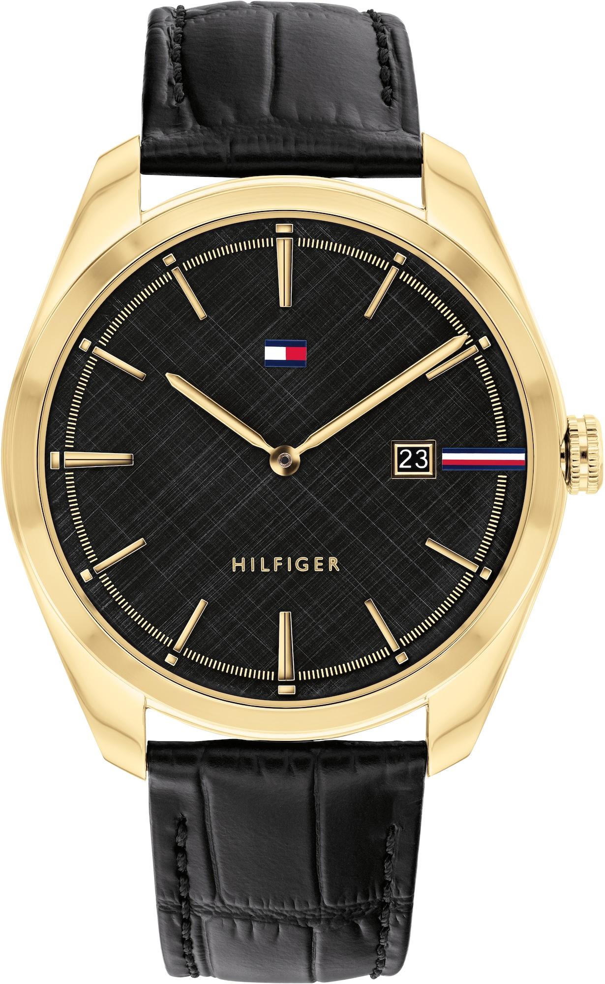 TOMMY HILFIGER Analoginis (įprasto dizaino) laikrodis juoda / auksas