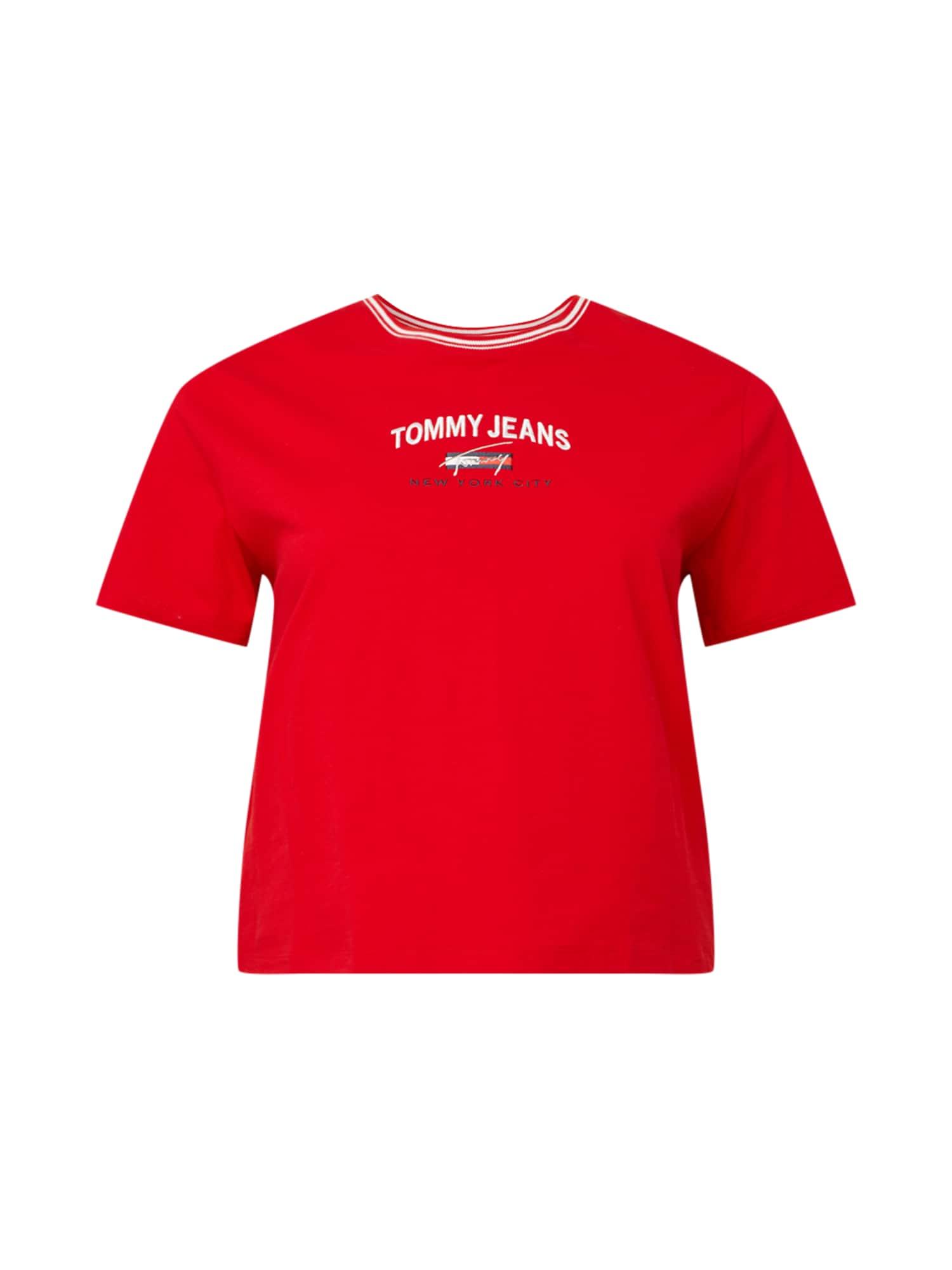 Tommy Jeans Curve Marškinėliai raudona / balta / tamsiai mėlyna