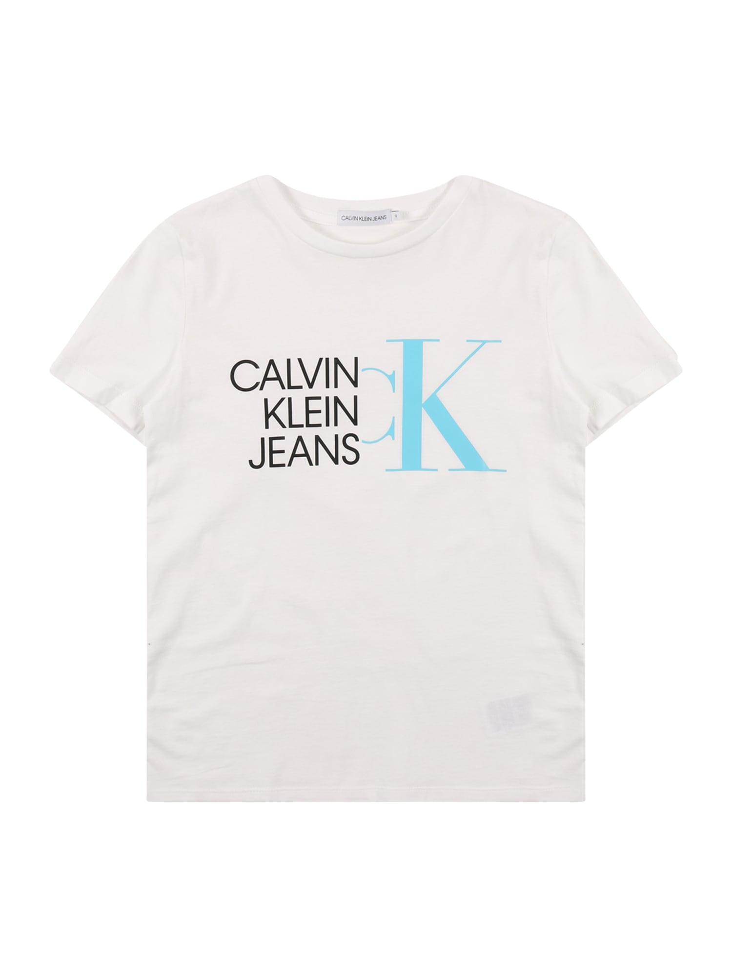 Calvin Klein Jeans Marškinėliai balta / turkio spalva / juoda