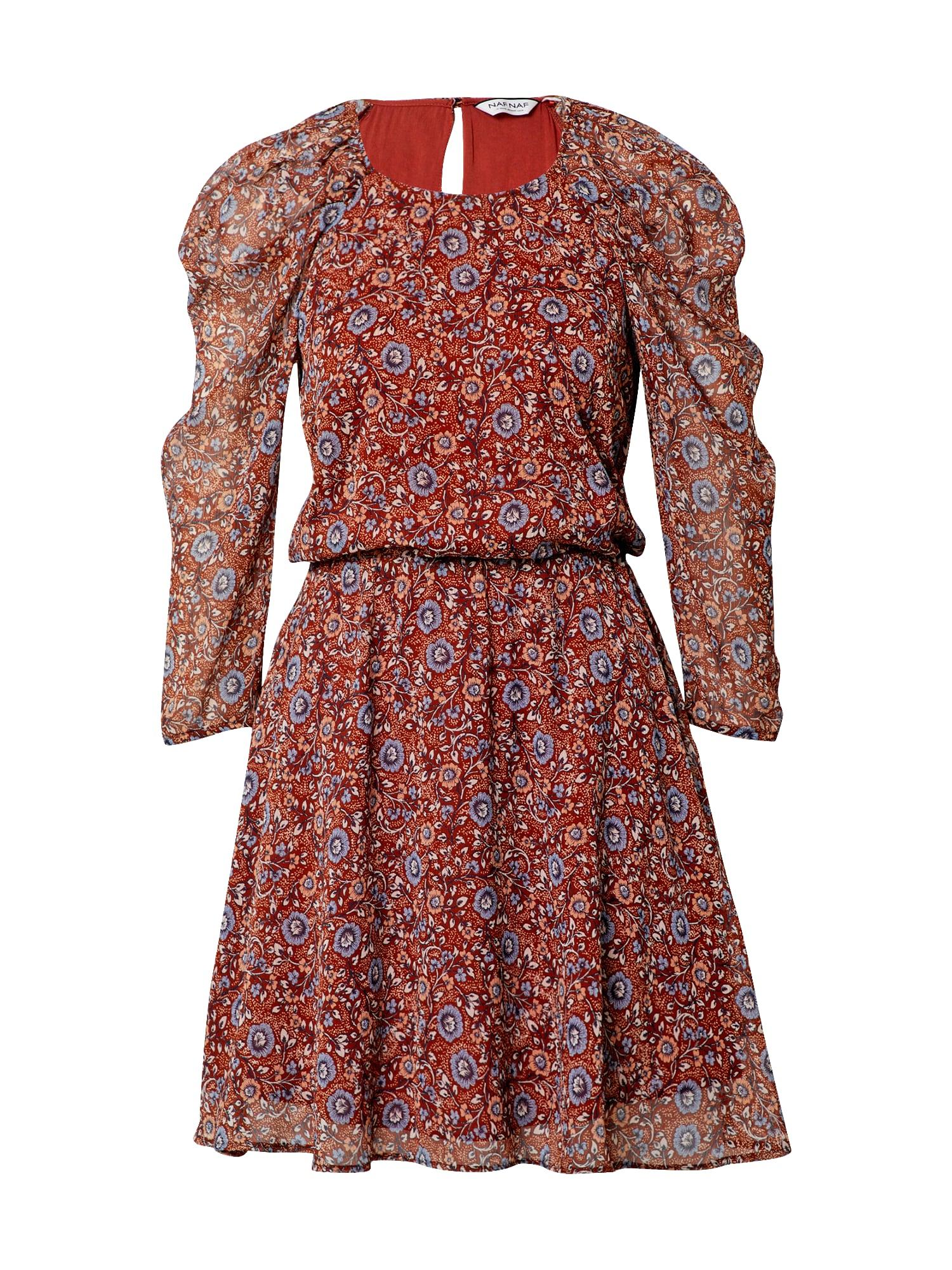 NAF NAF Suknelė tamsiai oranžinė / mišrios spalvos / melsvai pilka / smėlio