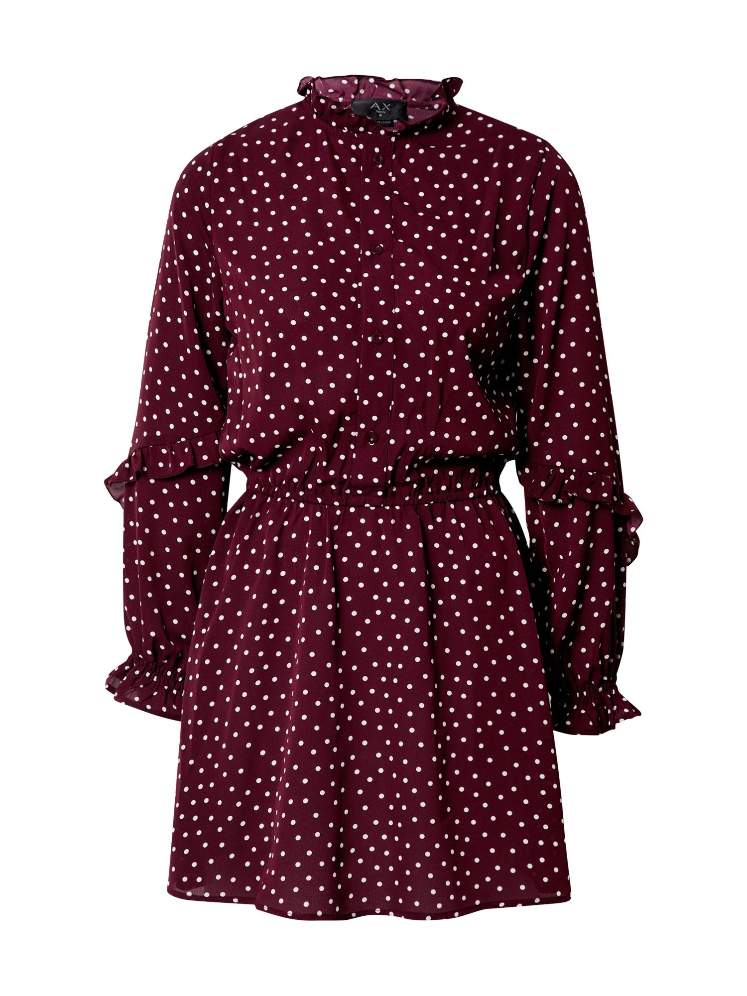 AX Paris Palaidinės tipo suknelė vyno raudona spalva / balta