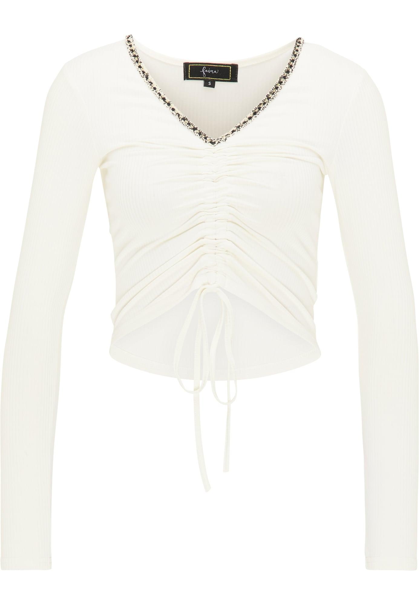 faina Marškinėliai natūrali balta / juoda