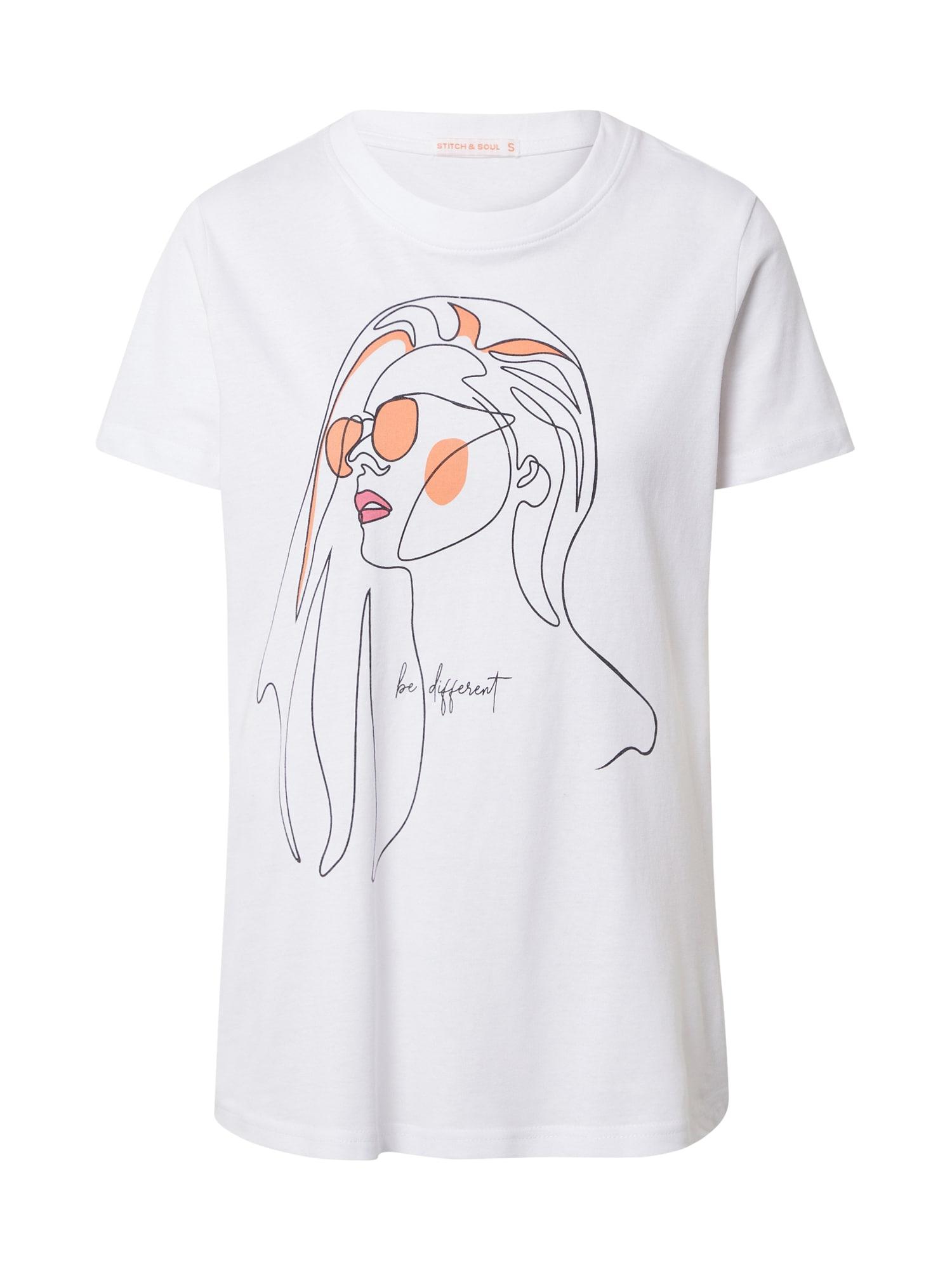 Stitch and Soul Marškinėliai balta / juoda / lašišų spalva