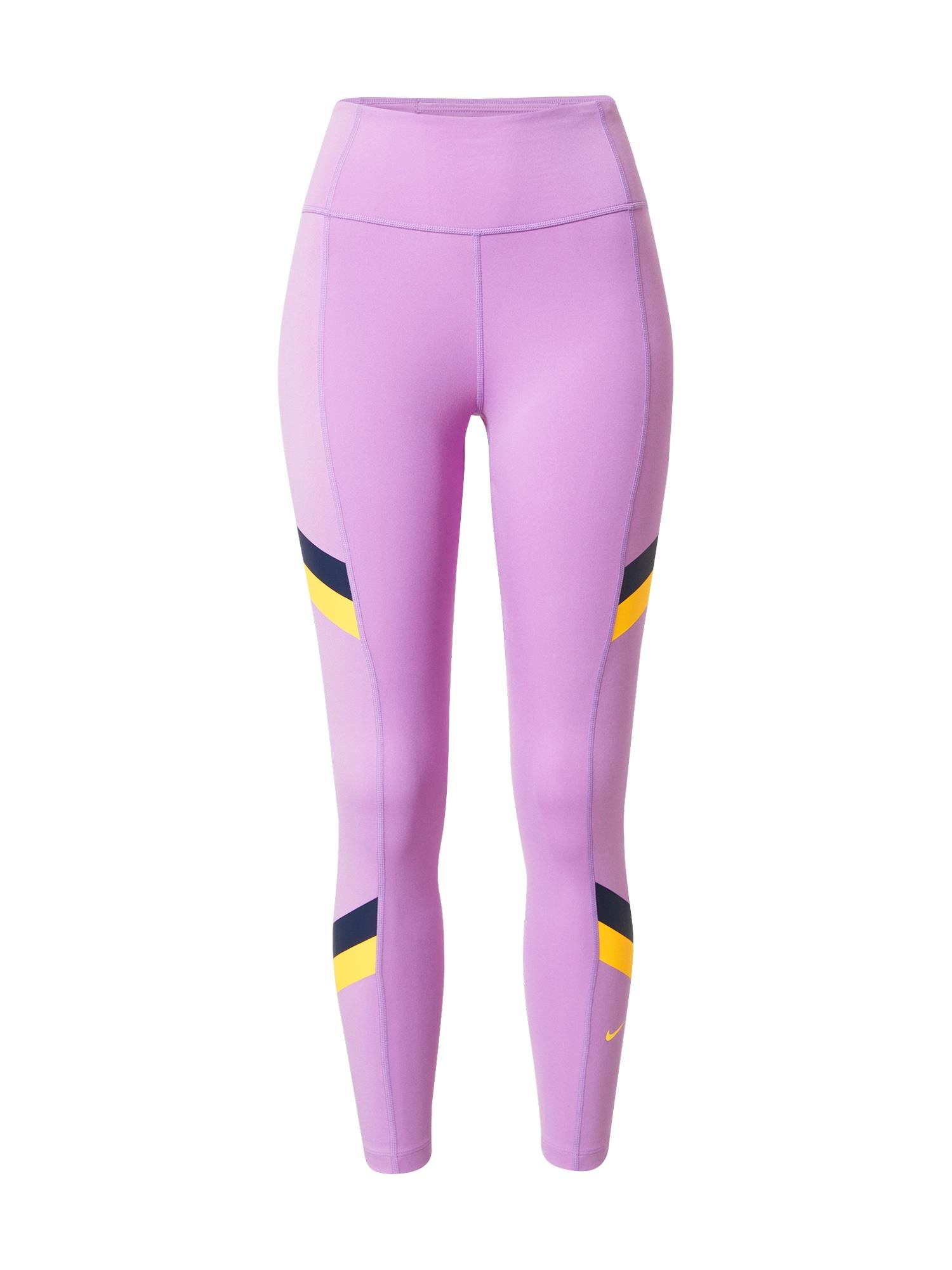 NIKE Sportovní kalhoty 'One'  fialová / tmavě modrá / žlutá