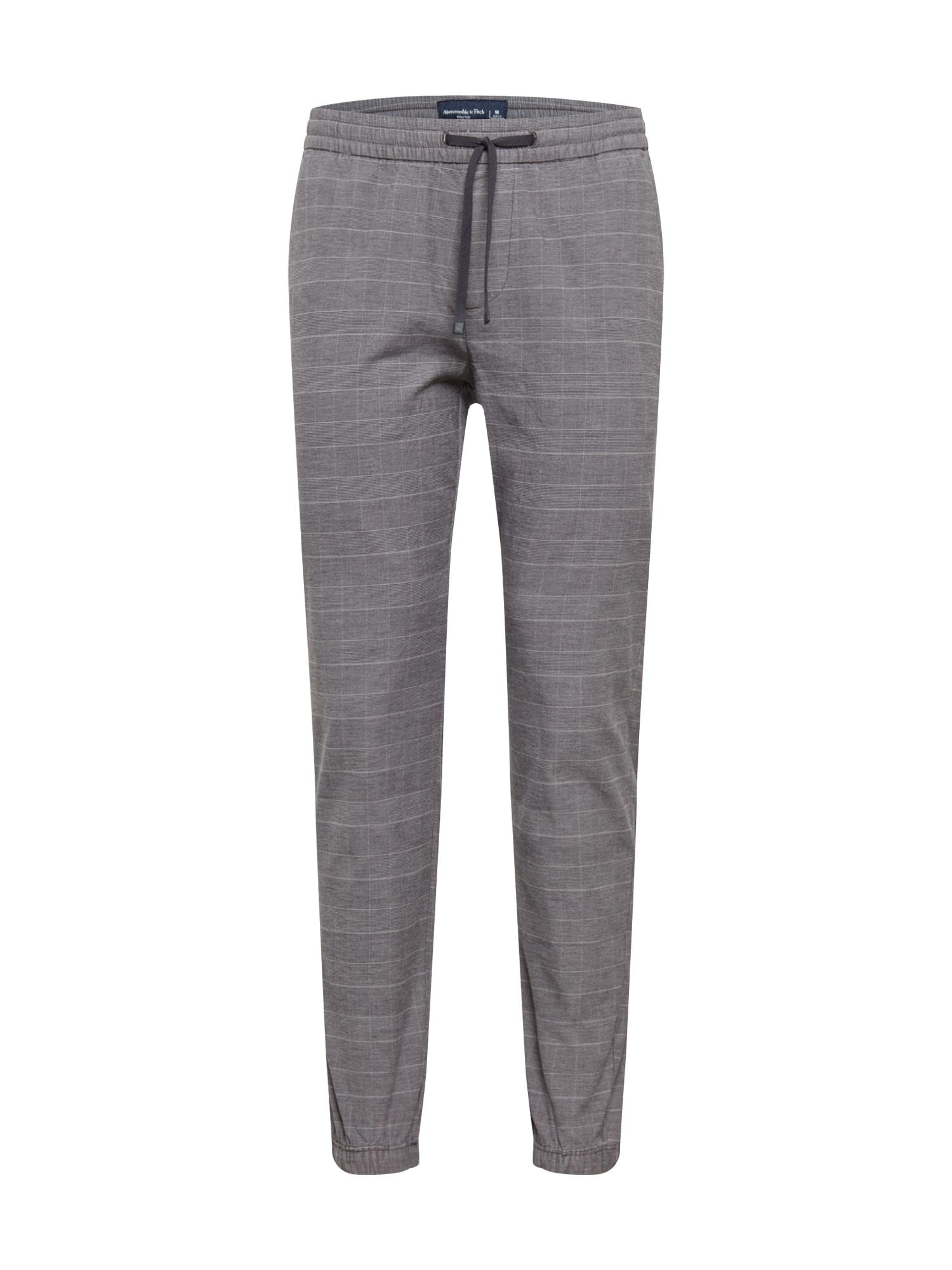 Abercrombie & Fitch Kelnės pilka / balta