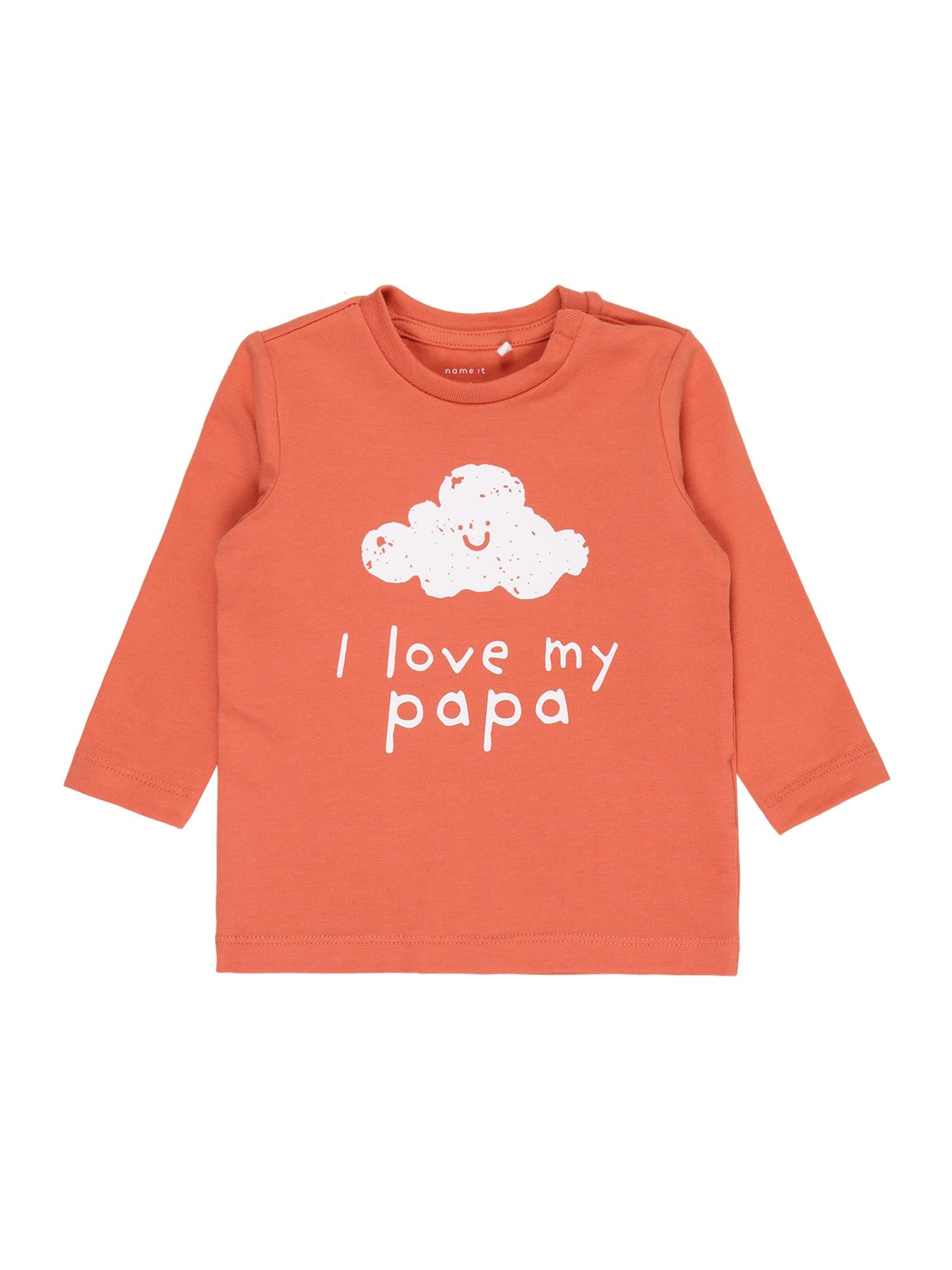NAME IT Marškinėliai 'Daniella' oranžinė-raudona / balta