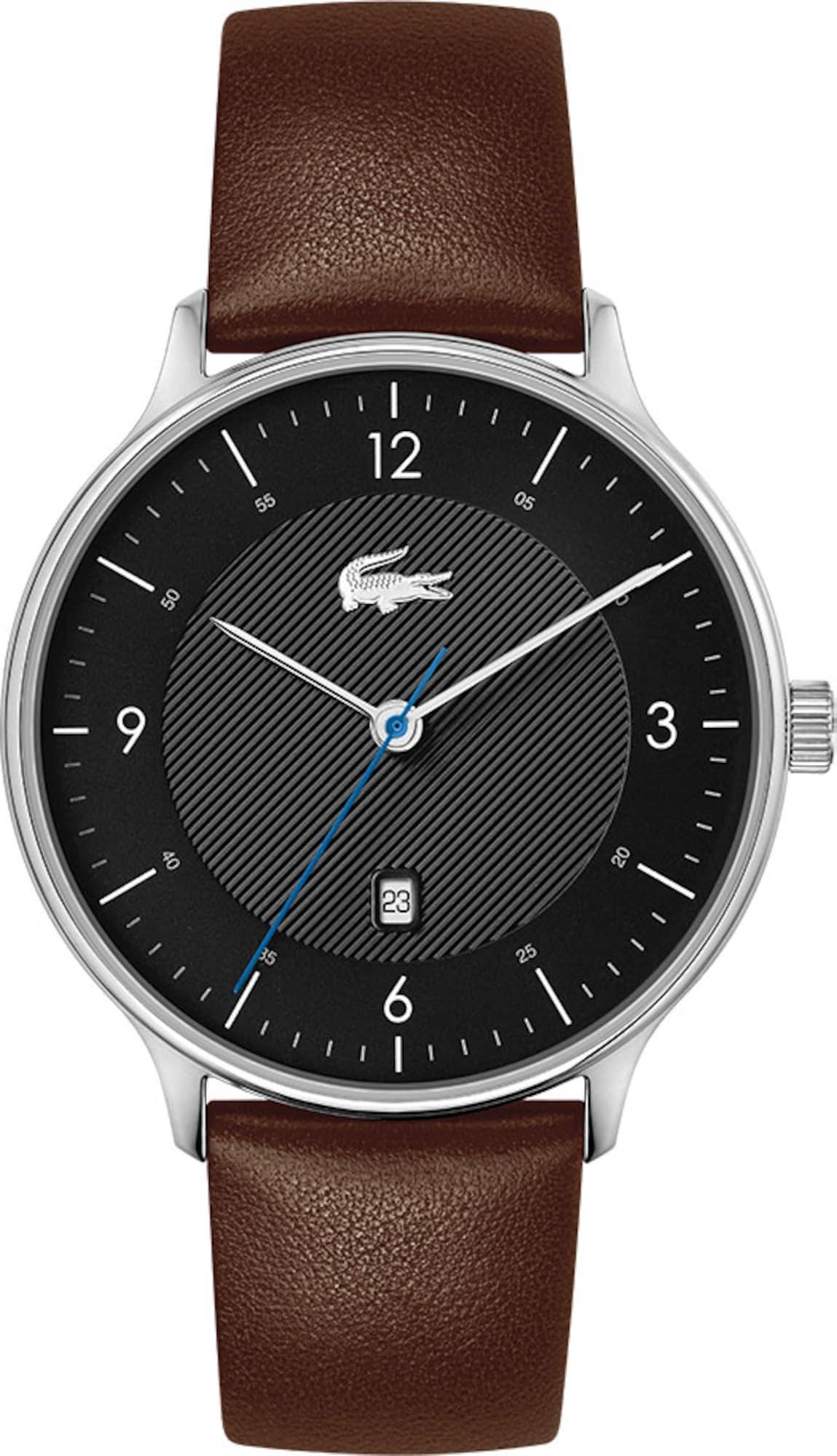 LACOSTE Analoginis (įprasto dizaino) laikrodis ruda / juoda / sidabrinė