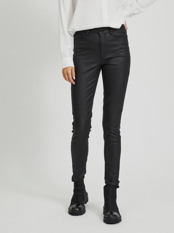 Object Belle Beschichtete Skinny Pants mit mittelhohem Bund