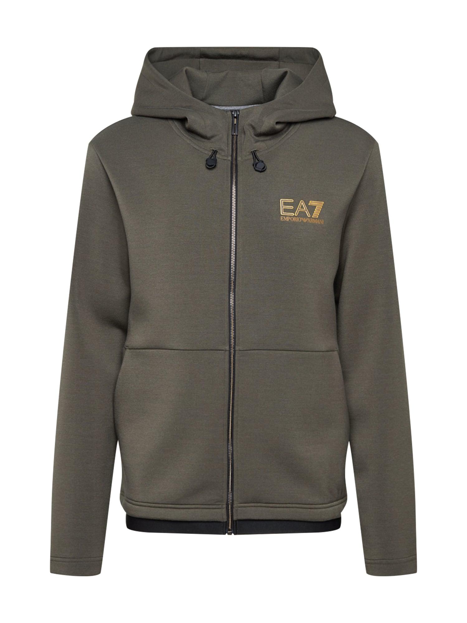 EA7 Emporio Armani Džemperis tamsiai žalia / aukso geltonumo spalva / juoda