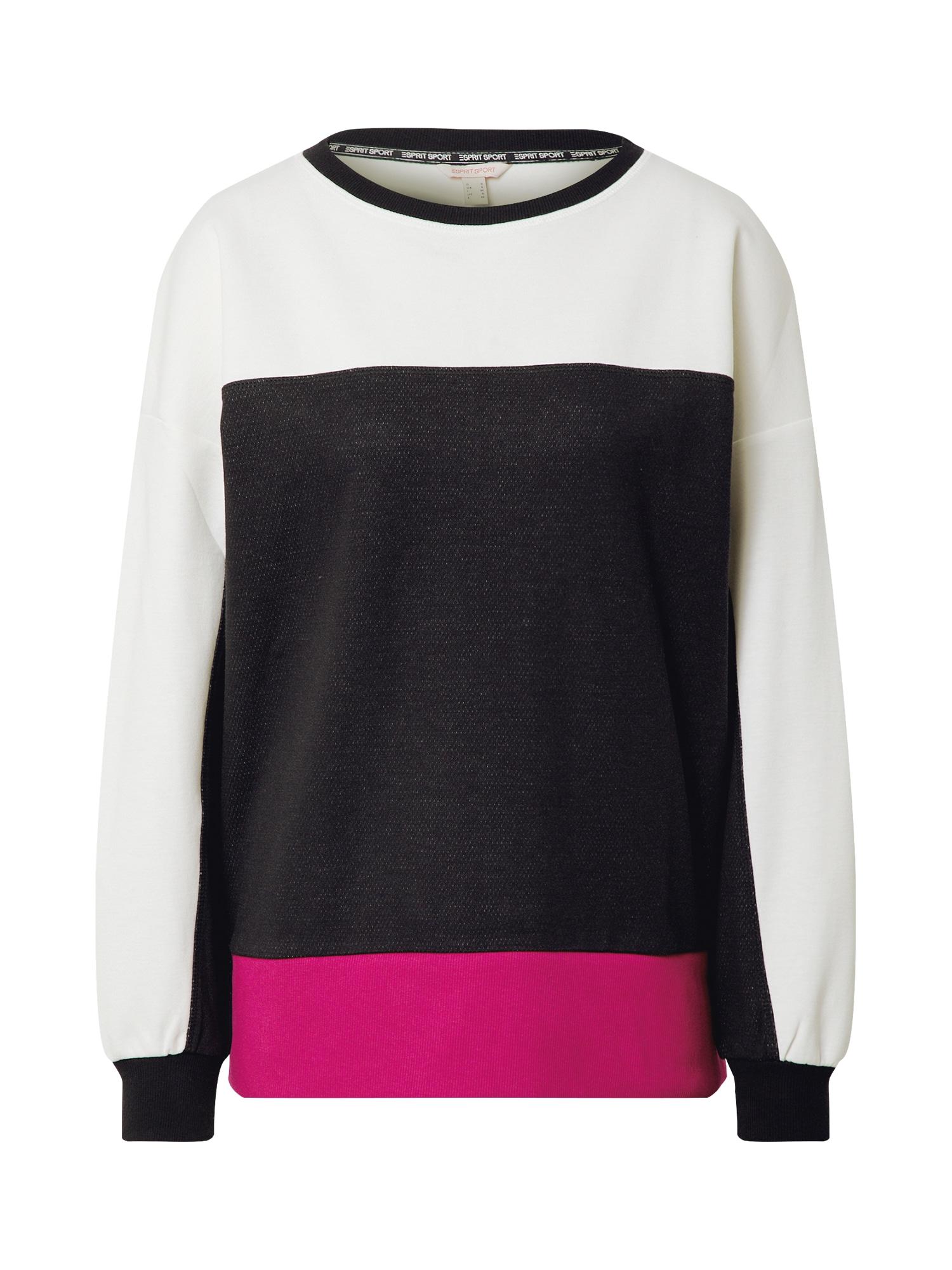 ESPRIT SPORT Sportinio tipo megztinis juoda / balta / tamsiai rožinė