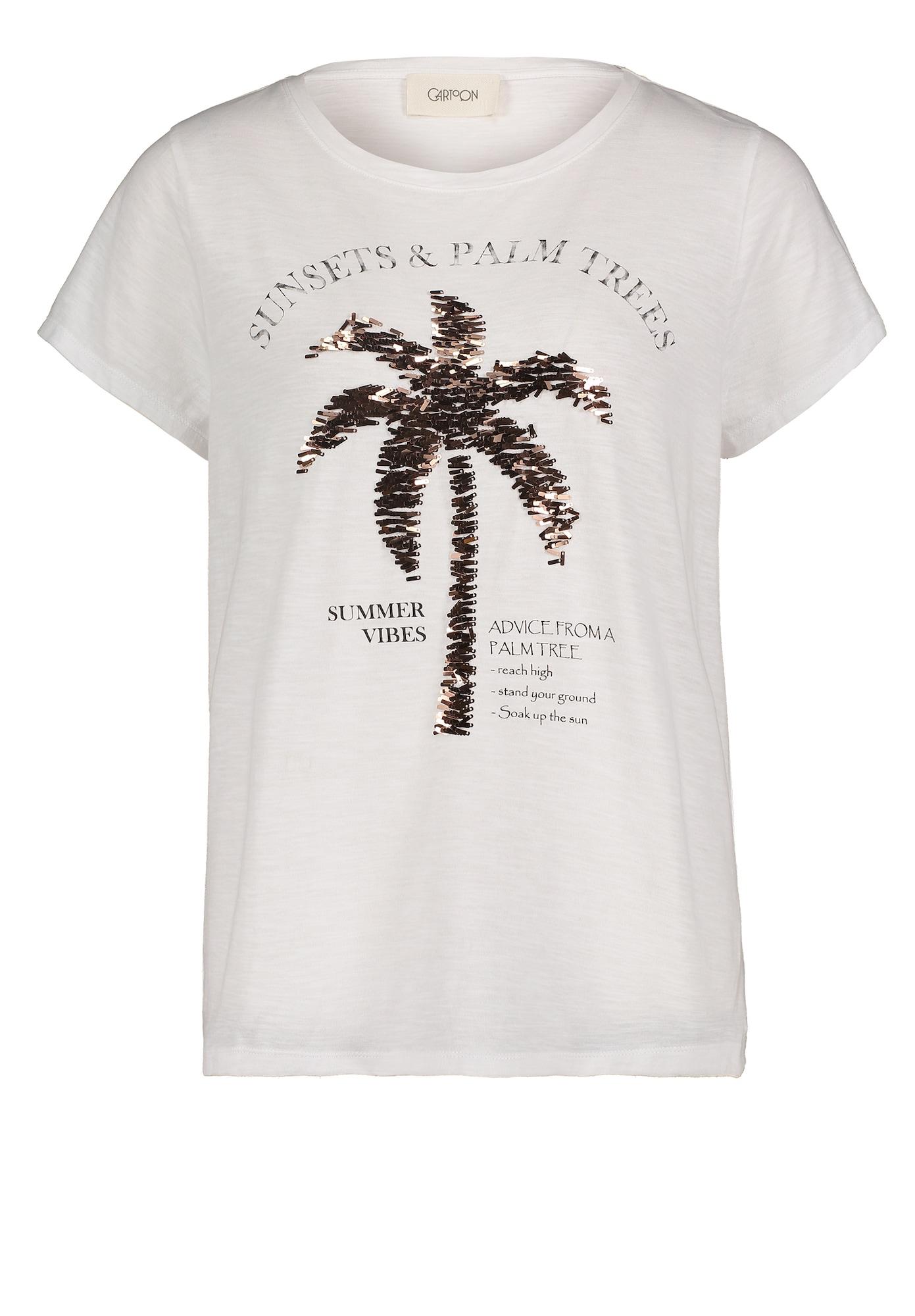 Cartoon Marškinėliai balta / bronzinė / juoda