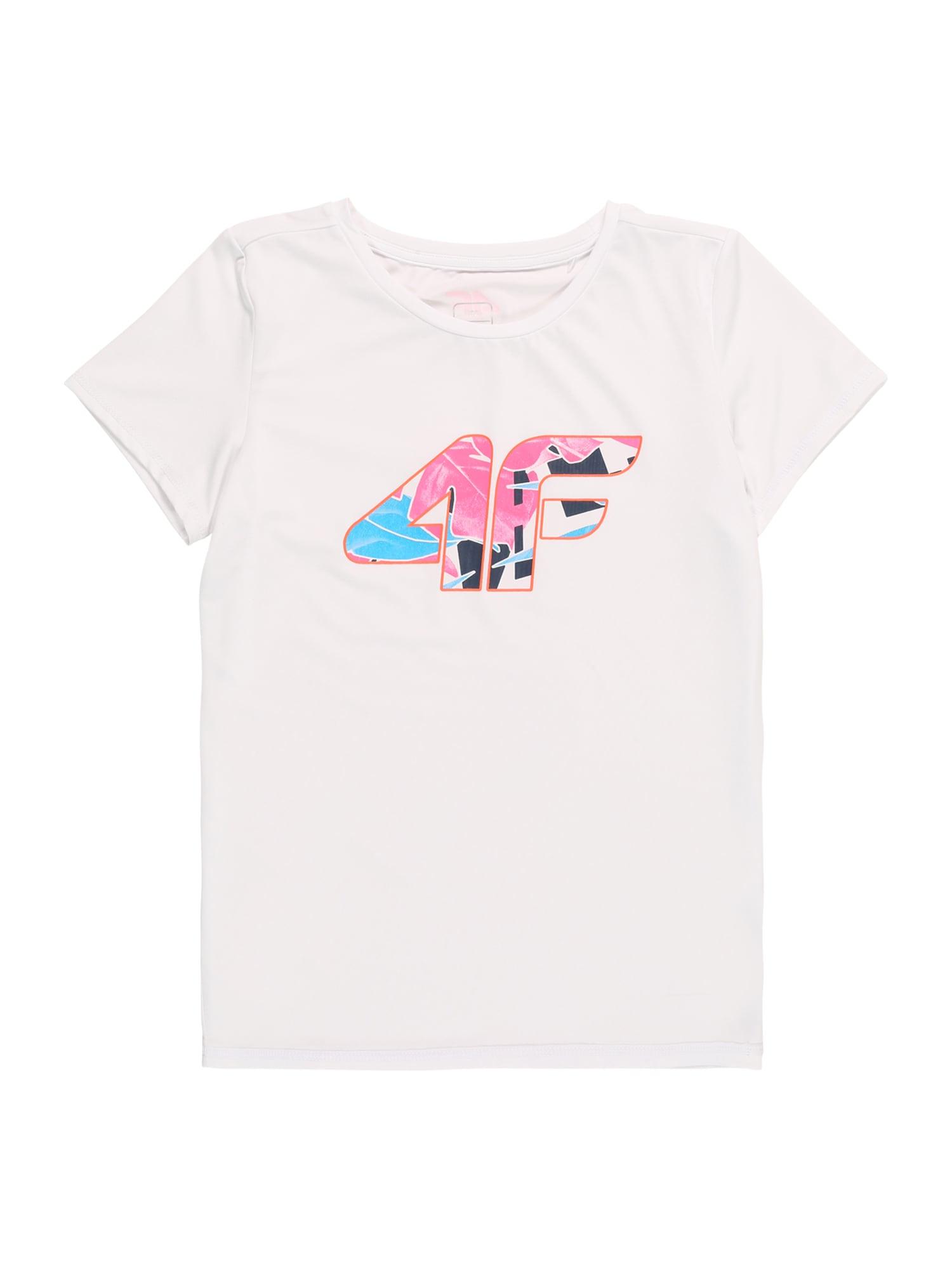 4F Sportiniai marškinėliai balta / rožinė / vandens spalva / nakties mėlyna