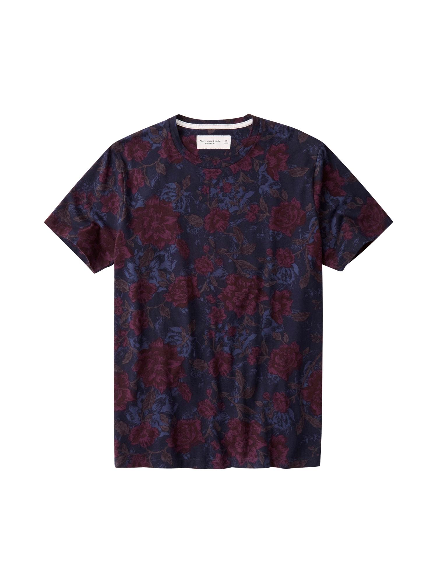 Abercrombie & Fitch Marškinėliai tamsiai mėlyna / raudona