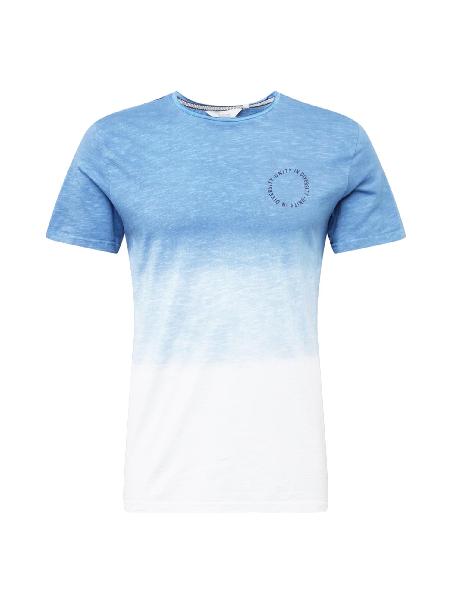 !Solid Marškinėliai dangaus žydra / balta / azuro spalva