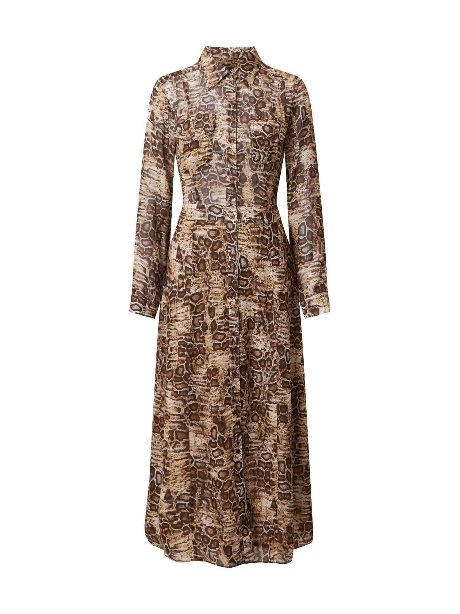 SAND COPENHAGEN Košilové šaty 'Mati'  velbloudí / tmavě hnědá