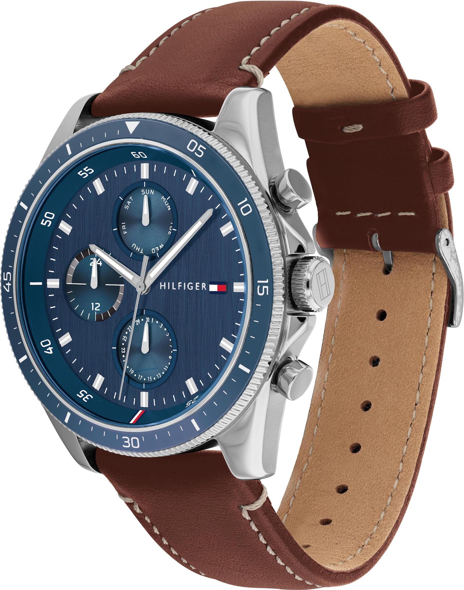 TOMMY HILFIGER Analoginis (įprasto dizaino) laikrodis ruda / mėlyna / sidabrinė