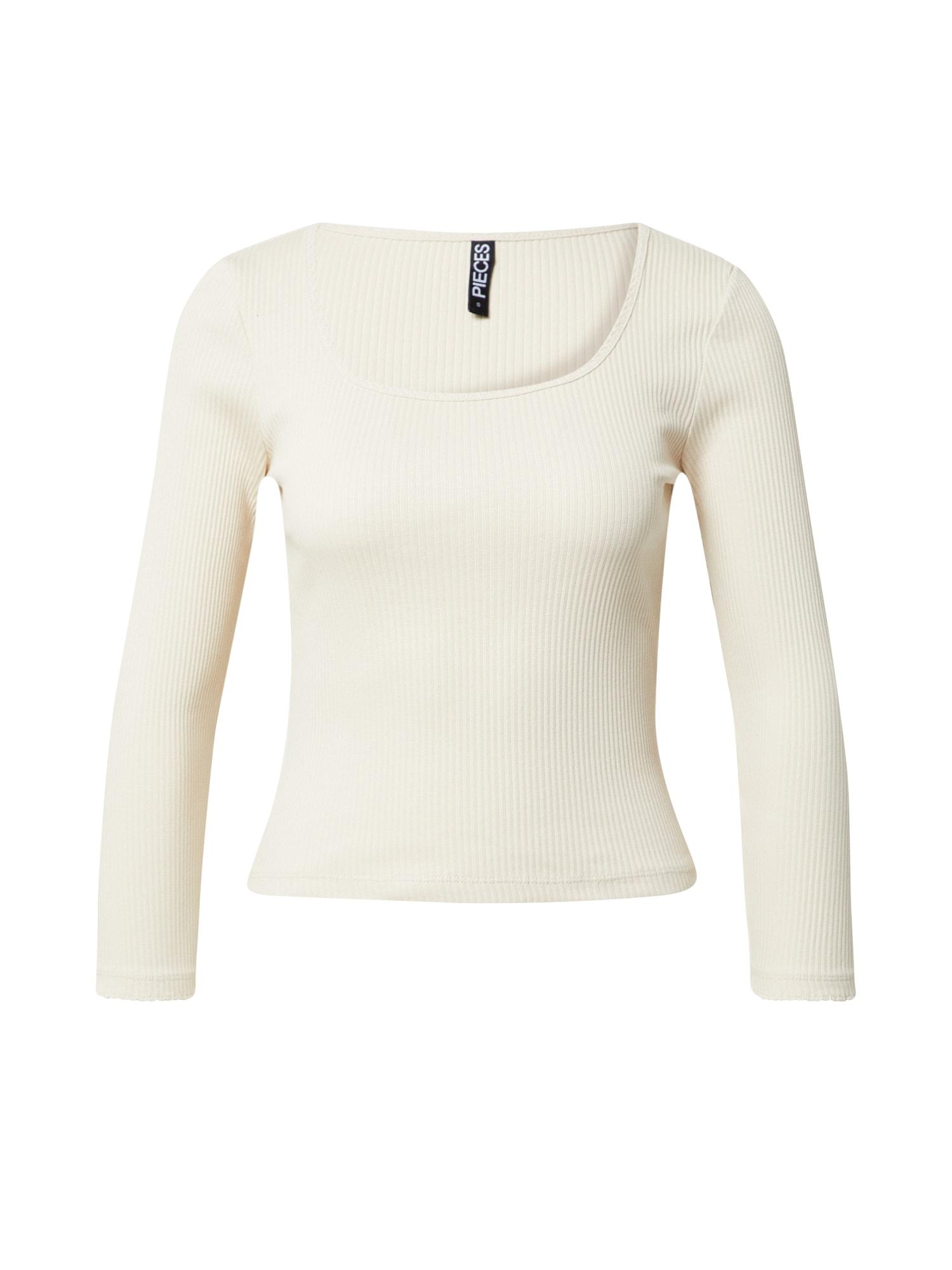 PIECES Tričko  prírodná biela