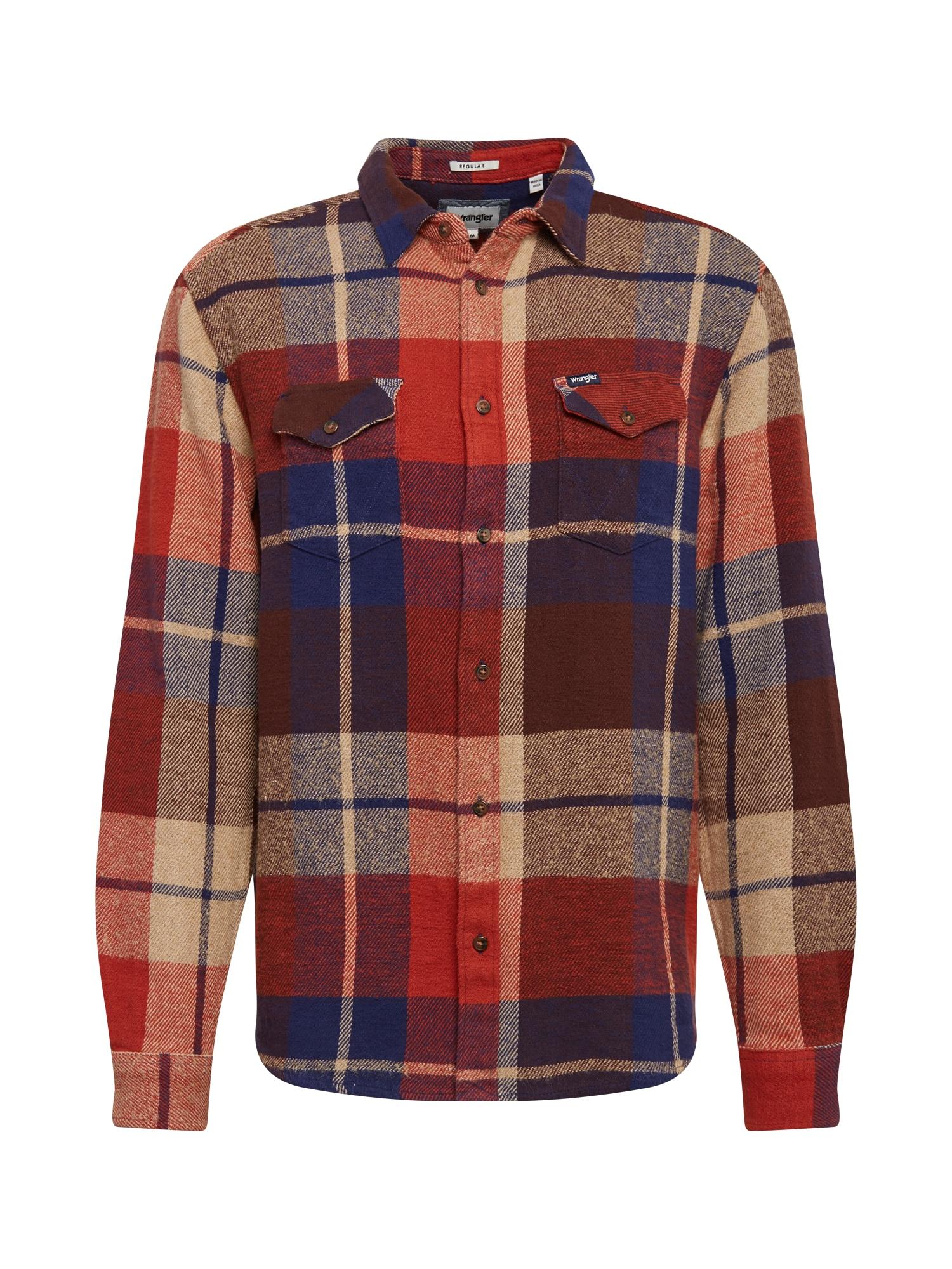 WRANGLER Marškiniai tamsiai mėlyna / raudona / smėlio