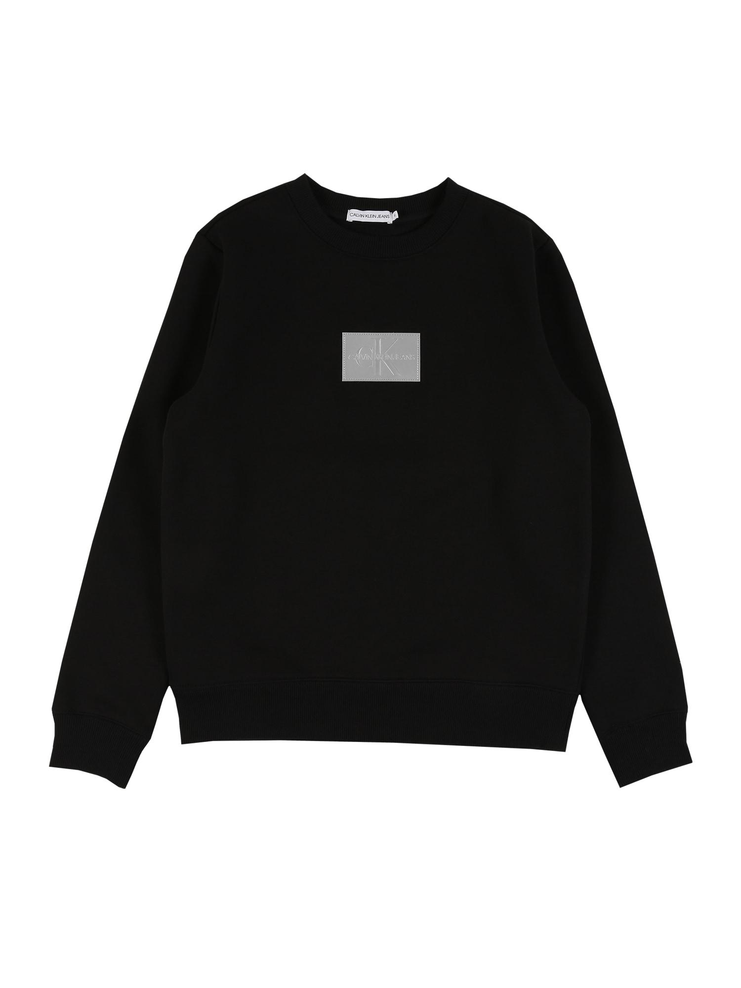Calvin Klein Jeans Megztinis be užsegimo juoda / sidabrinė