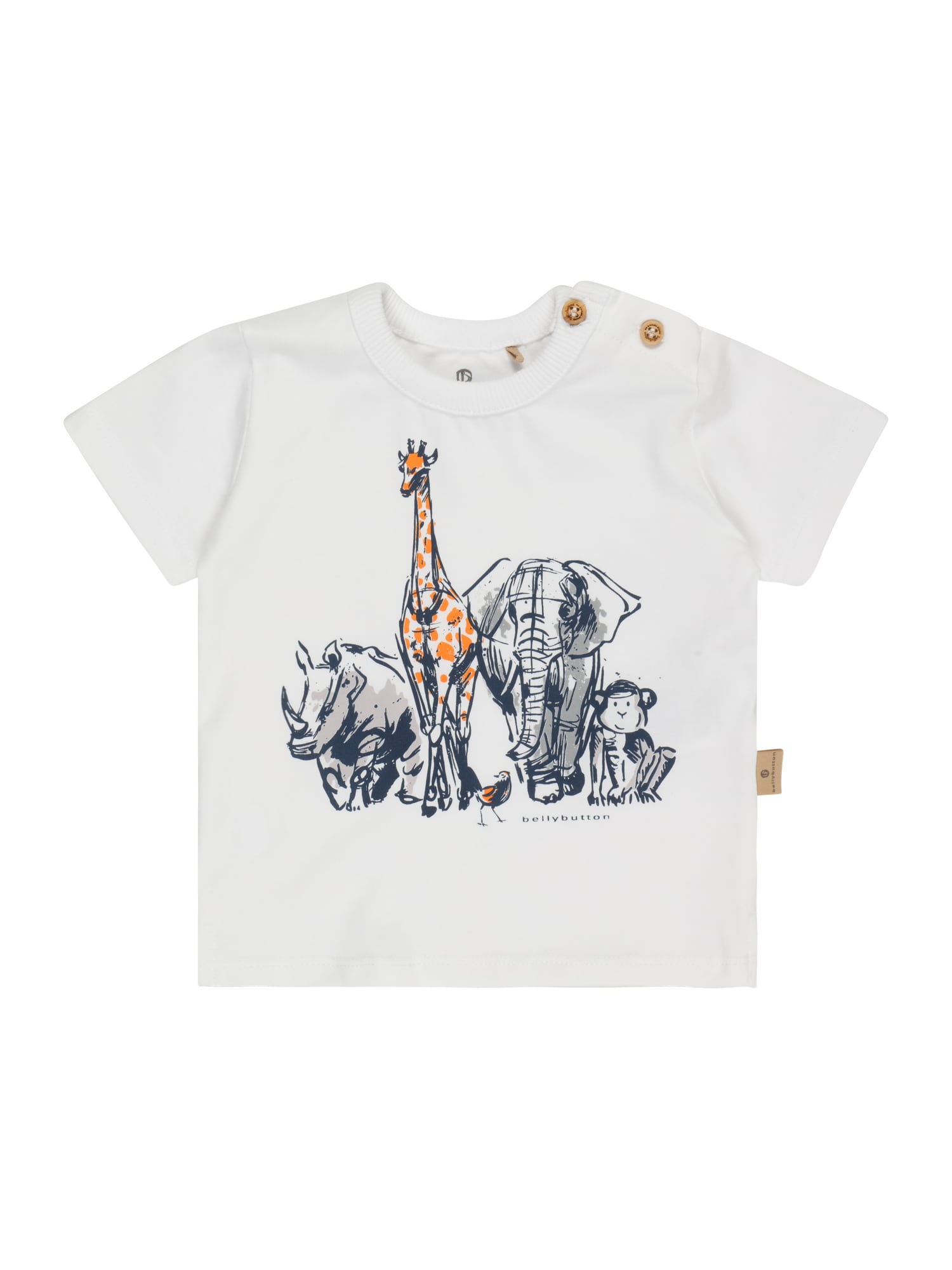 BELLYBUTTON Marškinėliai balta / tamsiai mėlyna / tamsiai oranžinė / pilka