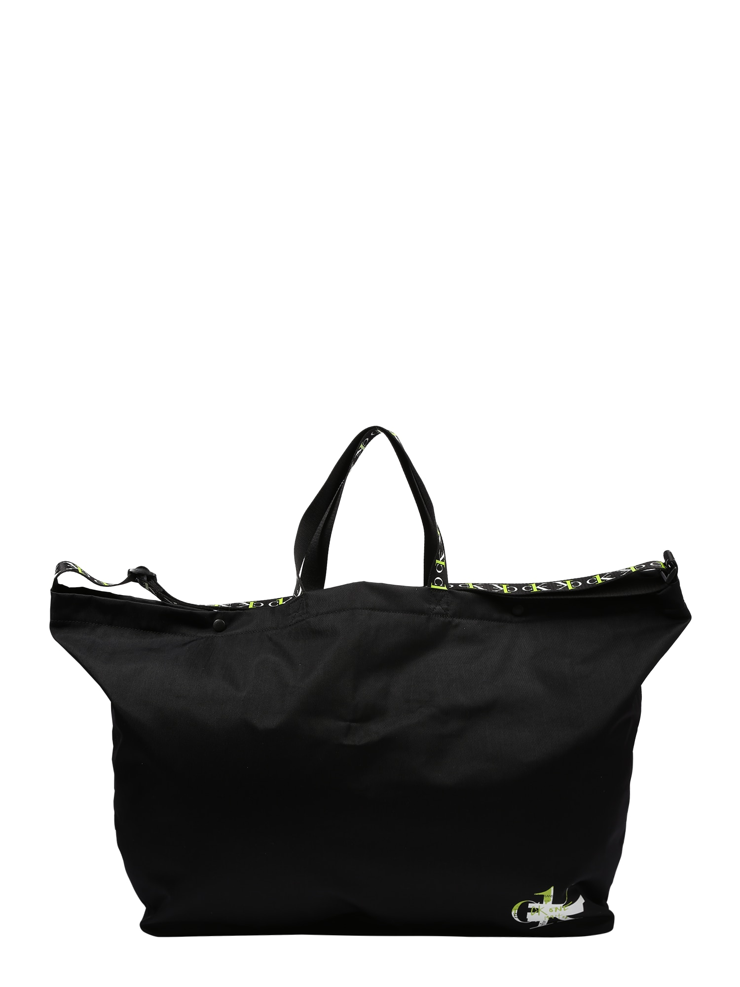 Calvin Klein Pirkinių krepšys juoda / balta / neoninė geltona