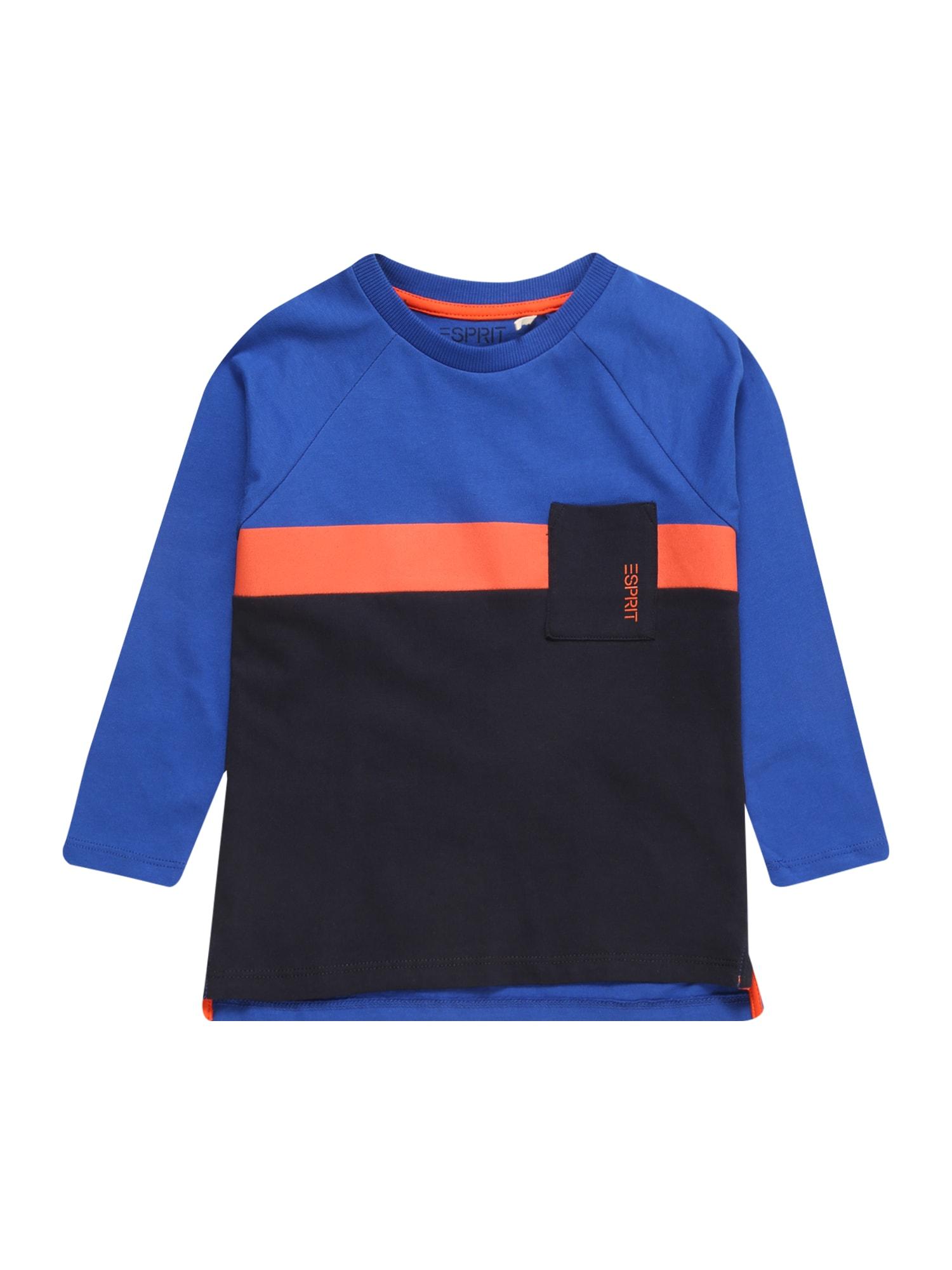 ESPRIT Tričko  královská modrá / korálová / černá