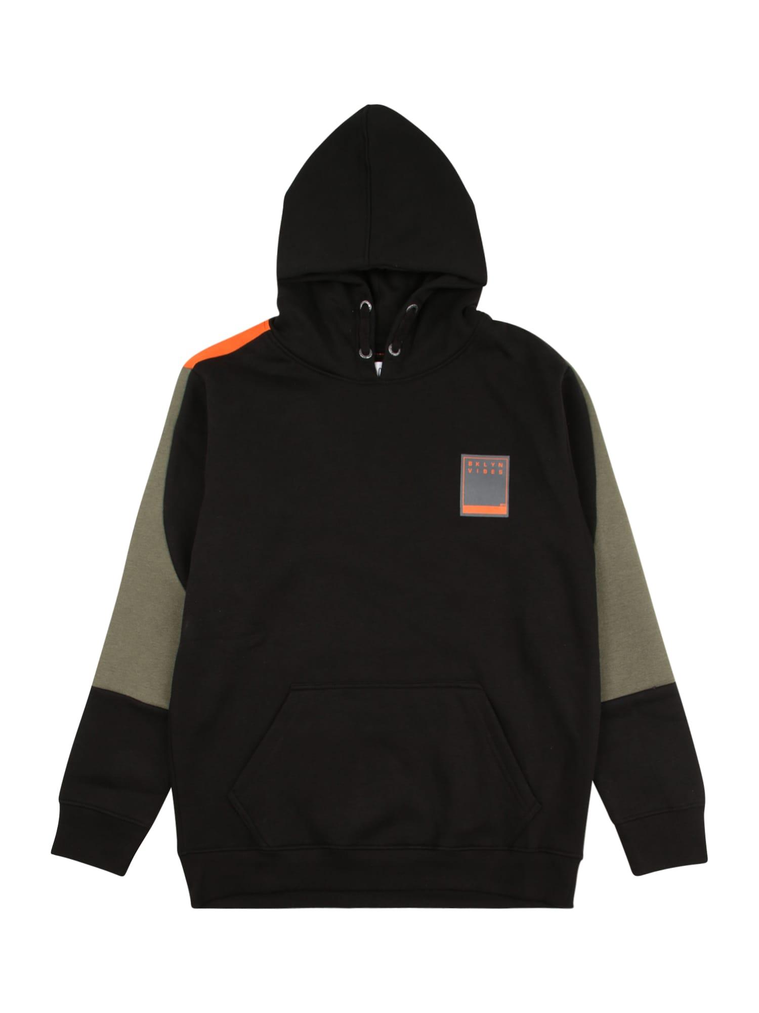STACCATO Megztinis be užsegimo juoda / rusvai žalia / neoninė oranžinė