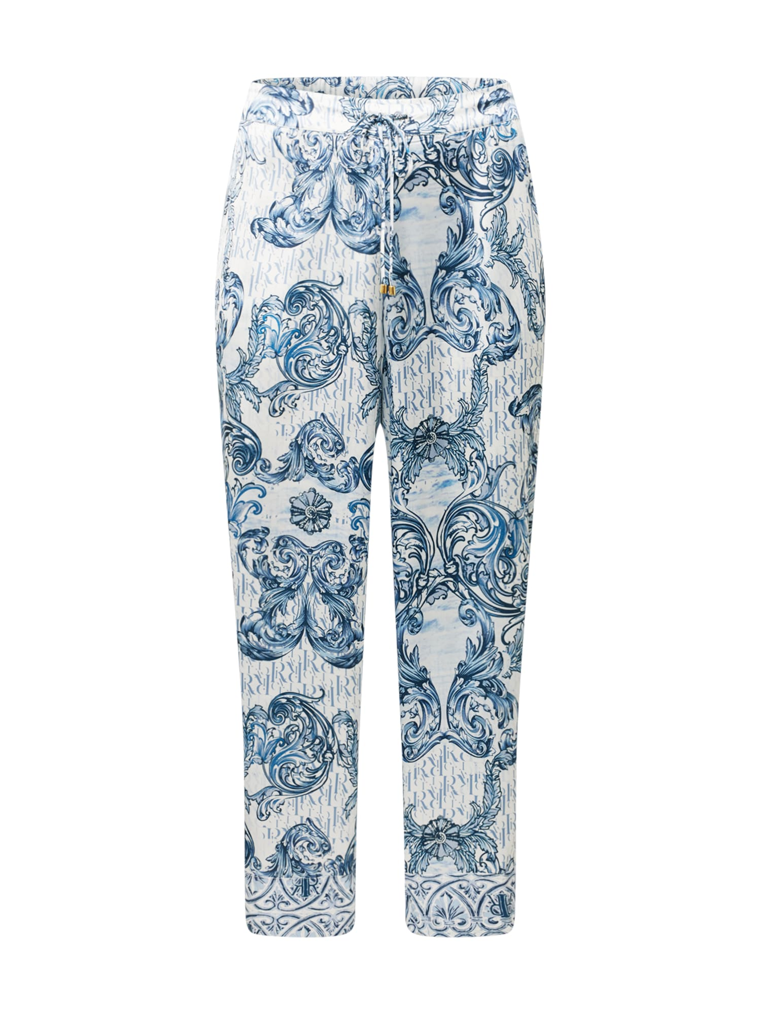River Island Plus Pižaminės kelnės mėlyna / balta / mėlyna dūmų spalva