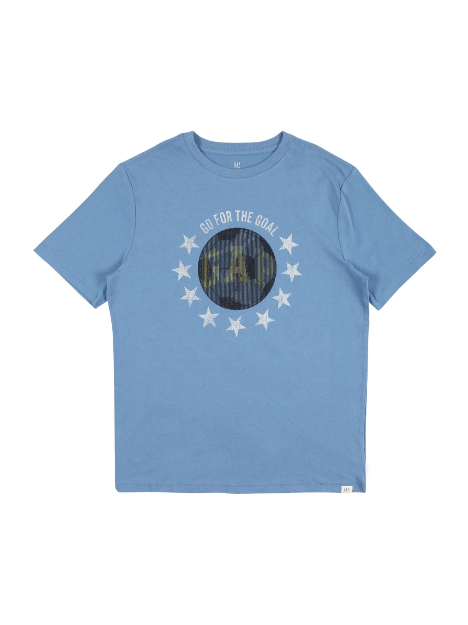 GAP Marškinėliai mėlyna dūmų spalva / balta / juoda
