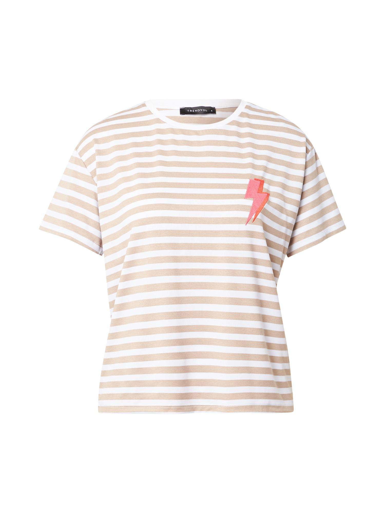 Trendyol Tričko  béžová / bílá / oranžová / pink