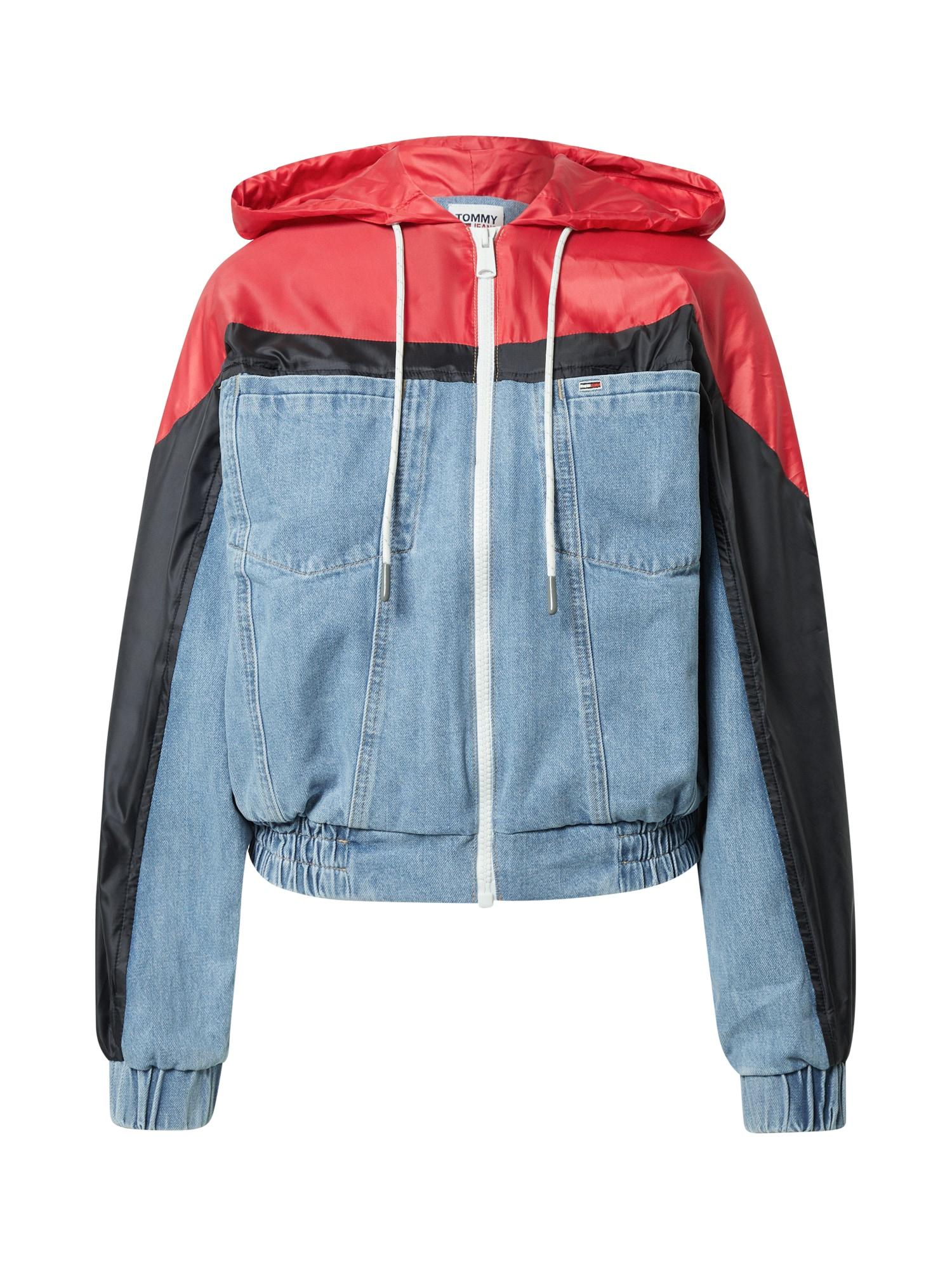 Tommy Jeans Demisezoninė striukė šviesiai mėlyna / šviesiai raudona / juoda