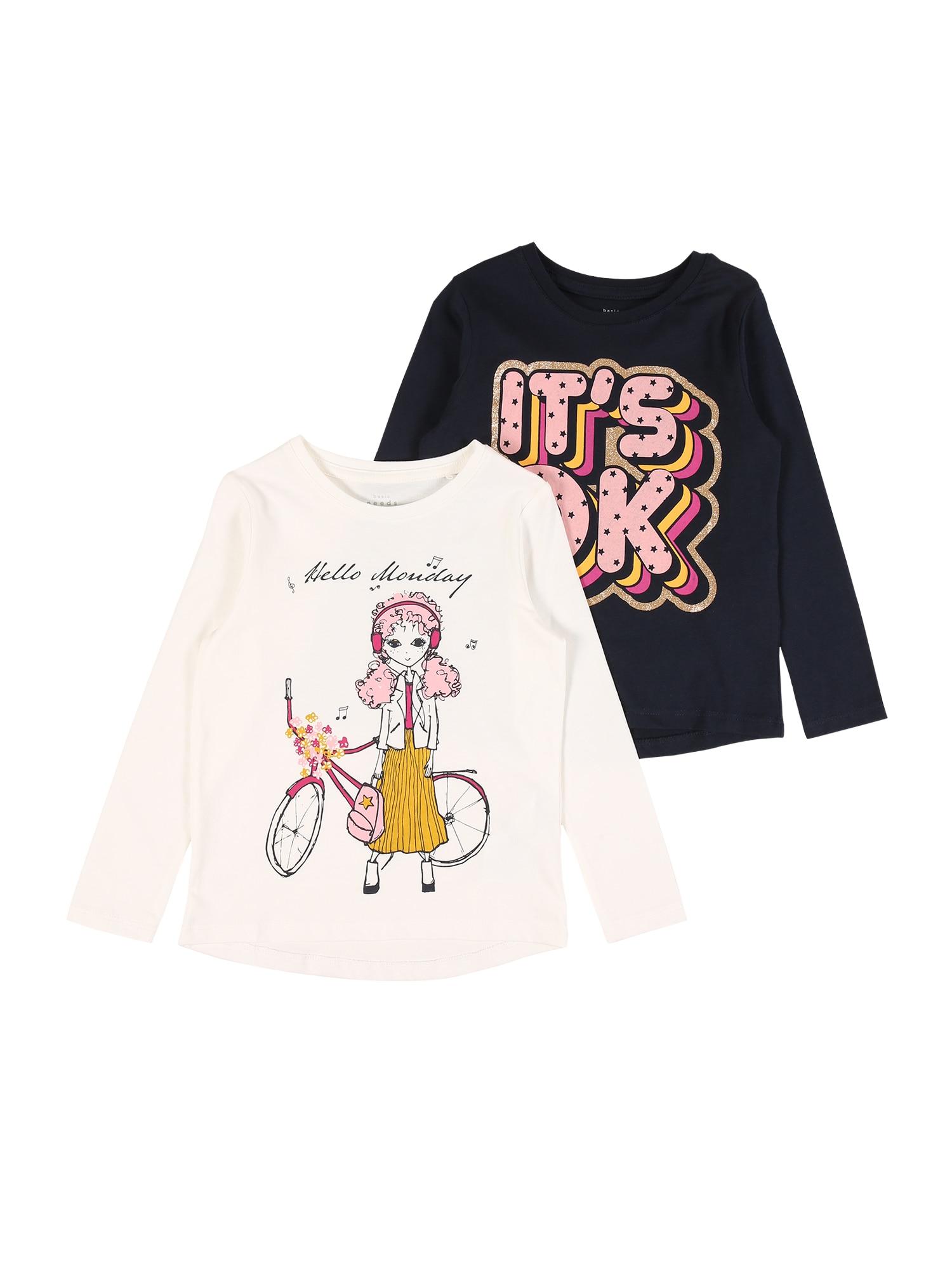NAME IT Marškinėliai balta / nakties mėlyna / rožinė / aukso geltonumo spalva