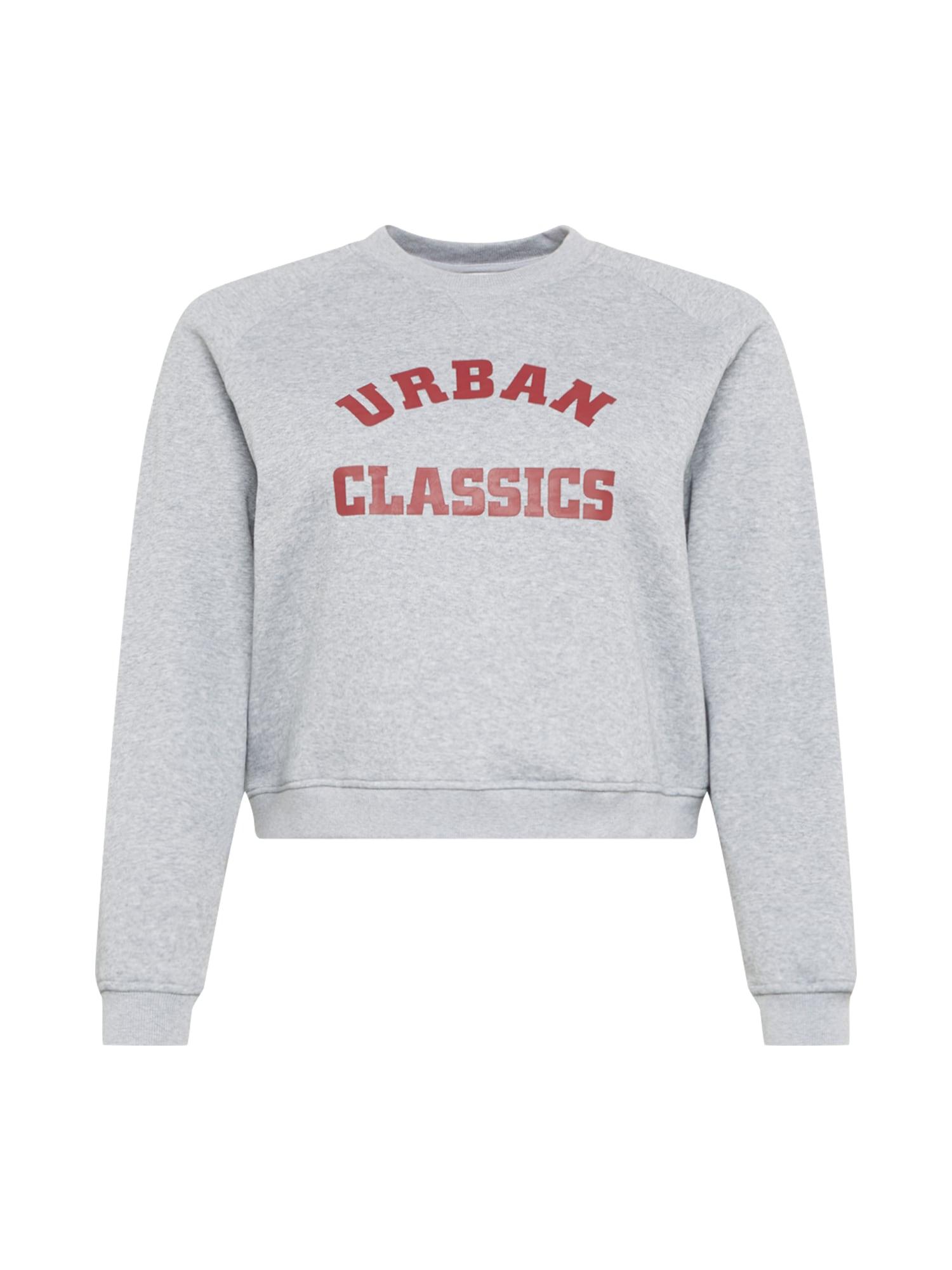 Urban Classics Curvy Megztinis be užsegimo pilka / vyno raudona spalva