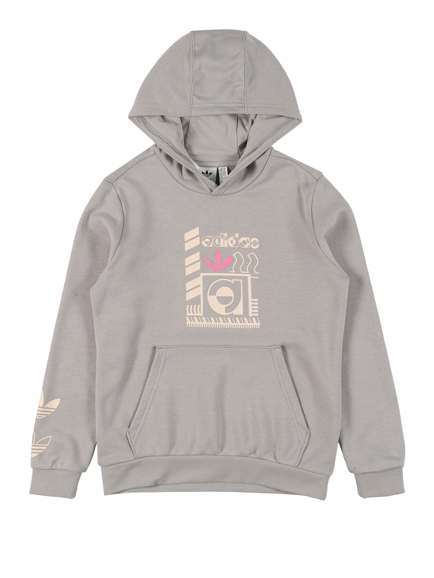 ADIDAS ORIGINALS Megztinis be užsegimo 'Graphic' pilka / balta / rožinė