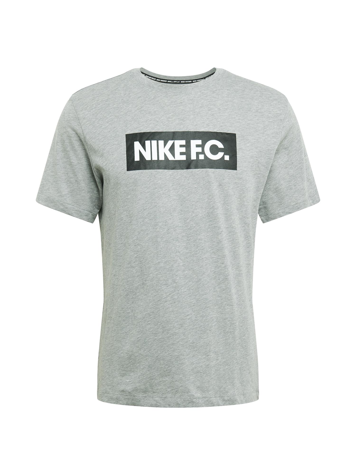 NIKE Sportiniai marškinėliai balta / juoda / margai pilka