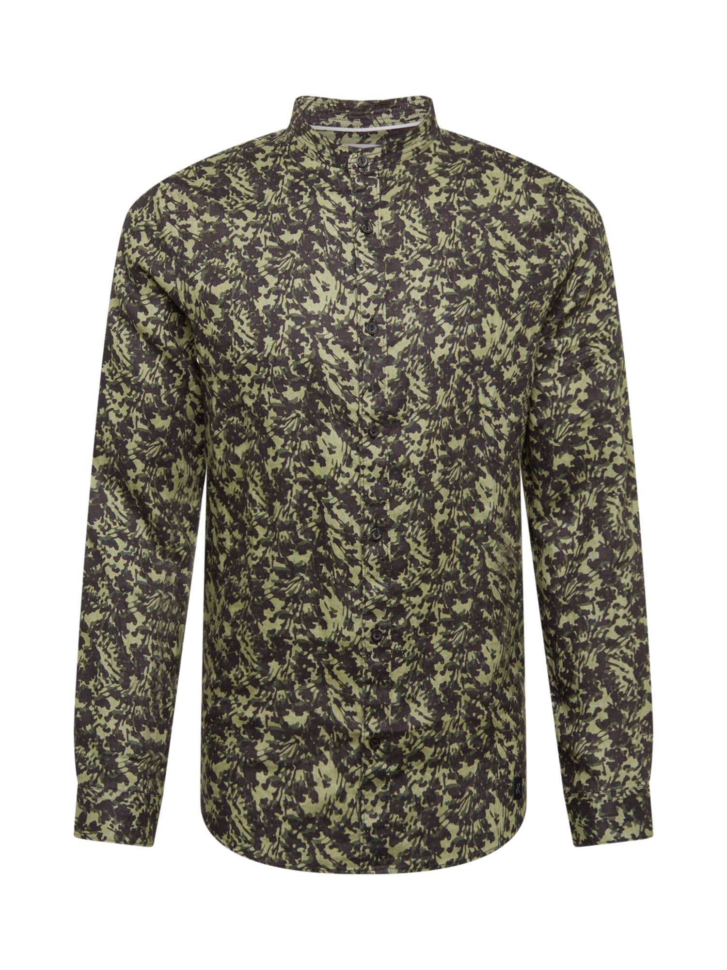 NOWADAYS Marškiniai alyvuogių spalva / juoda / nendrių spalva