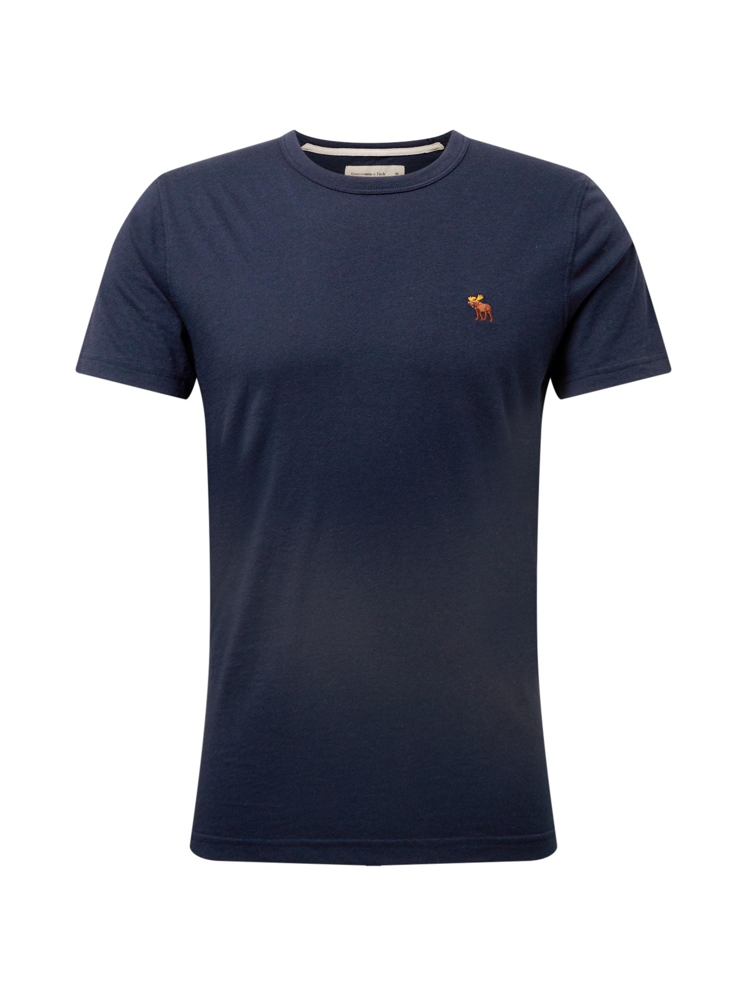 Abercrombie & Fitch Marškinėliai tamsiai mėlyna / rusva / geltona