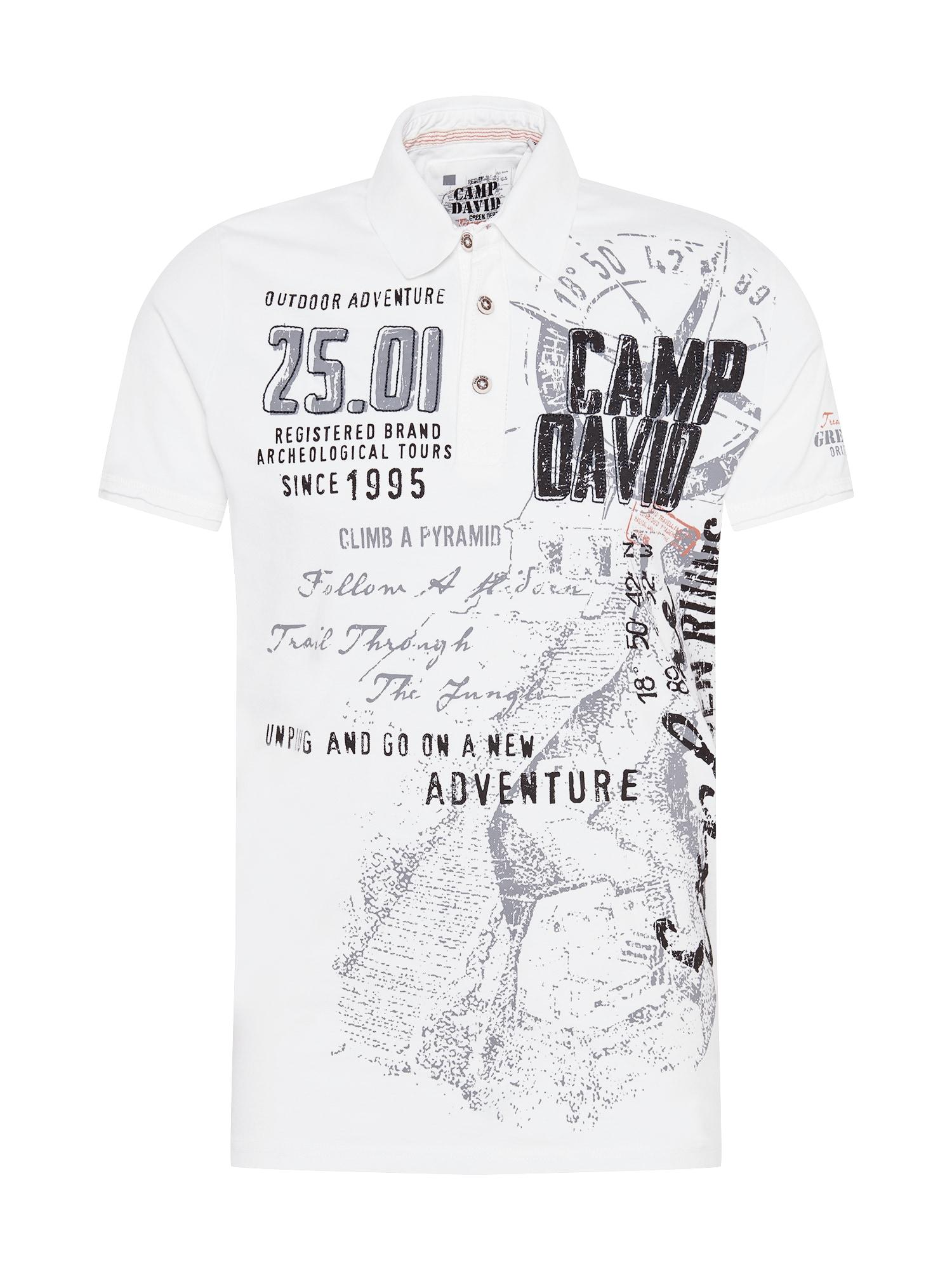 CAMP DAVID Marškinėliai balkšva / oranžinė / juoda / pilka