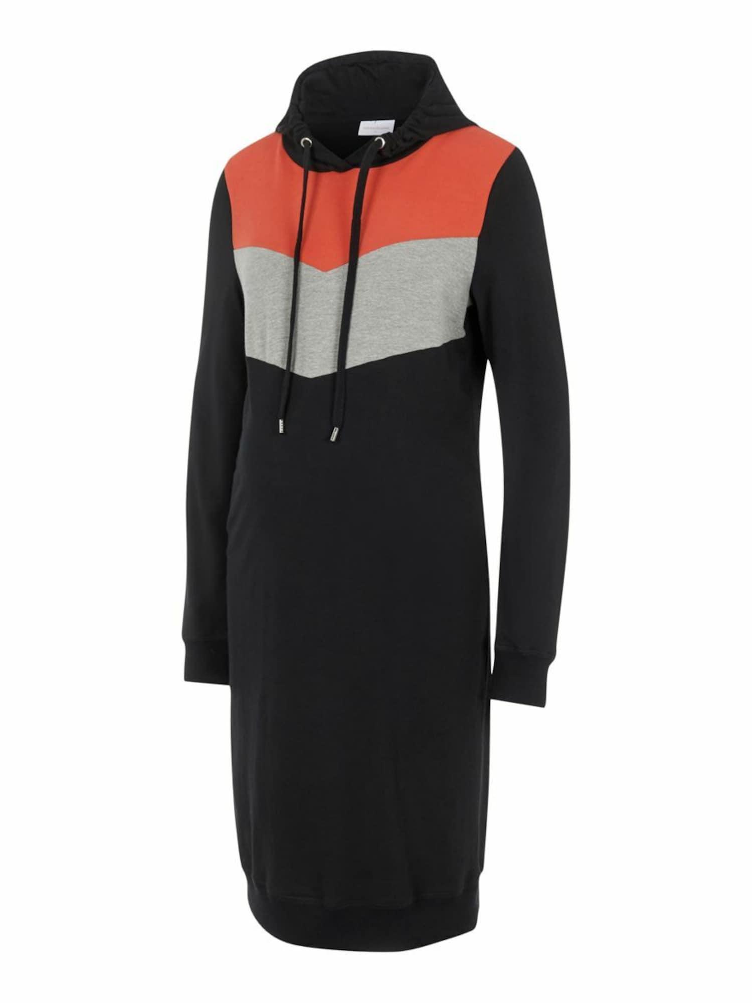 MAMALICIOUS Suknelė juoda / pilka / oranžinė