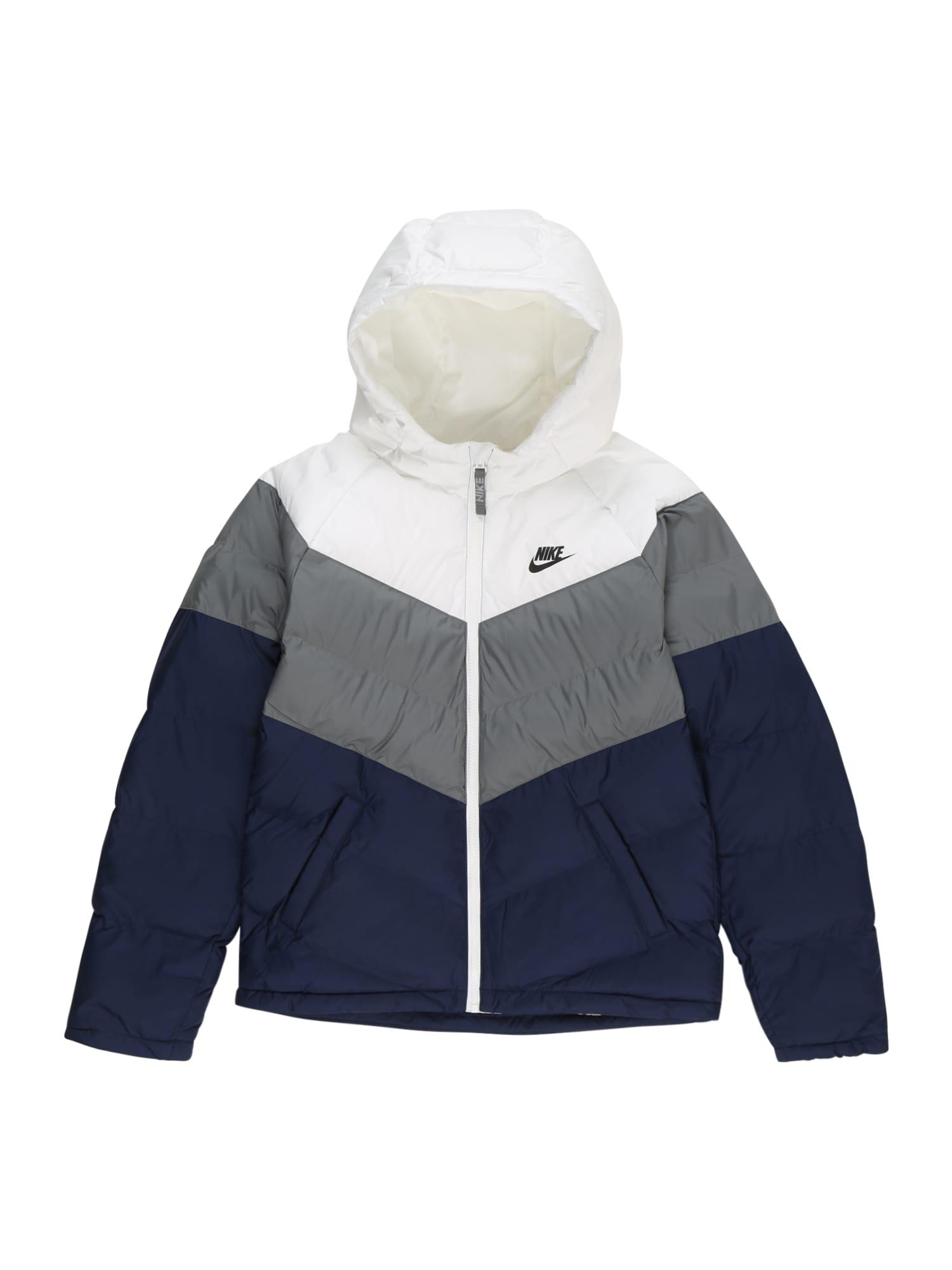 Nike Sportswear Zimní bunda  modrá / bílá / šedá