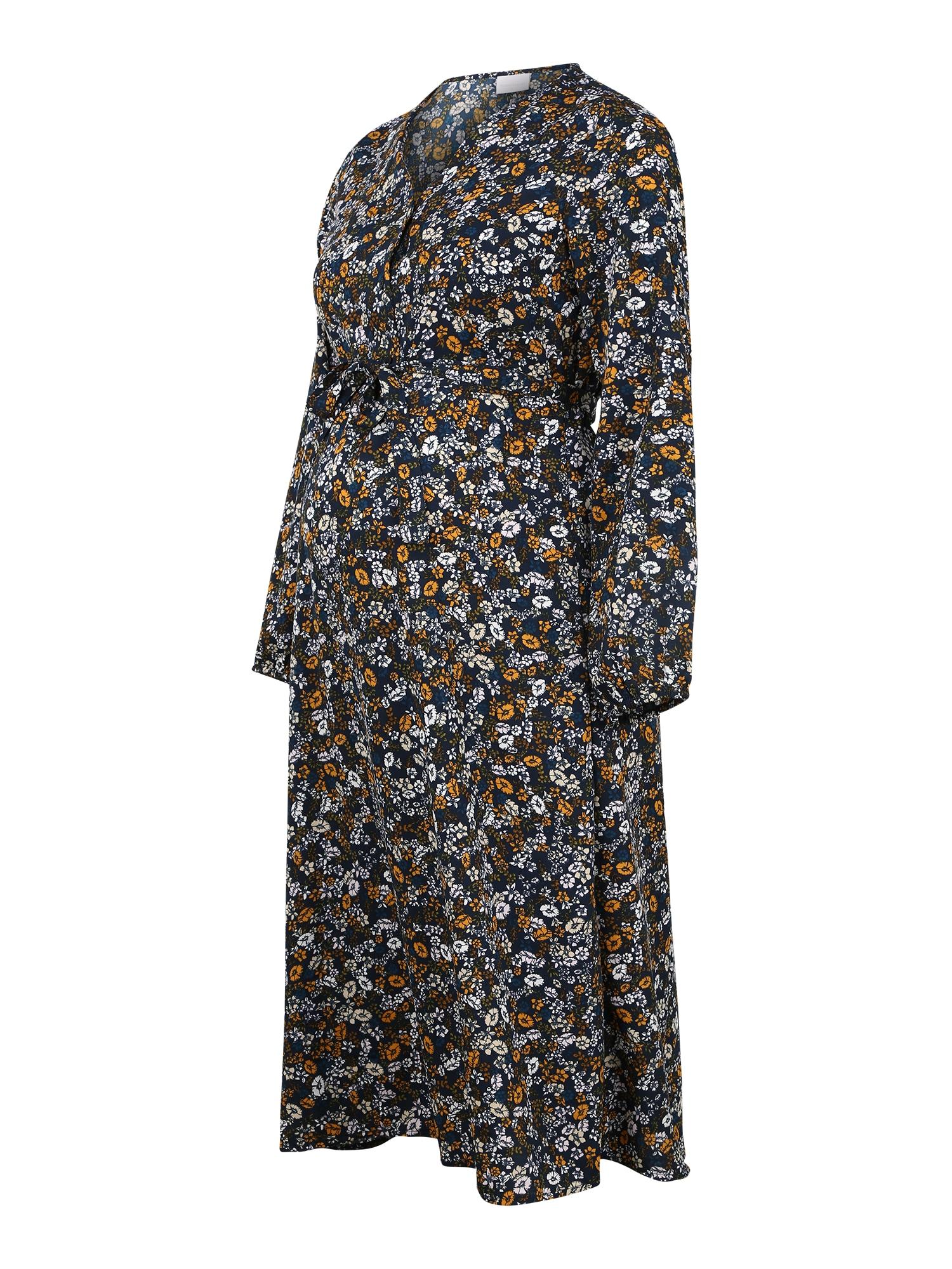 MAMALICIOUS Suknelė 'AMILA LIA' tamsiai pilka / medaus spalva / balta