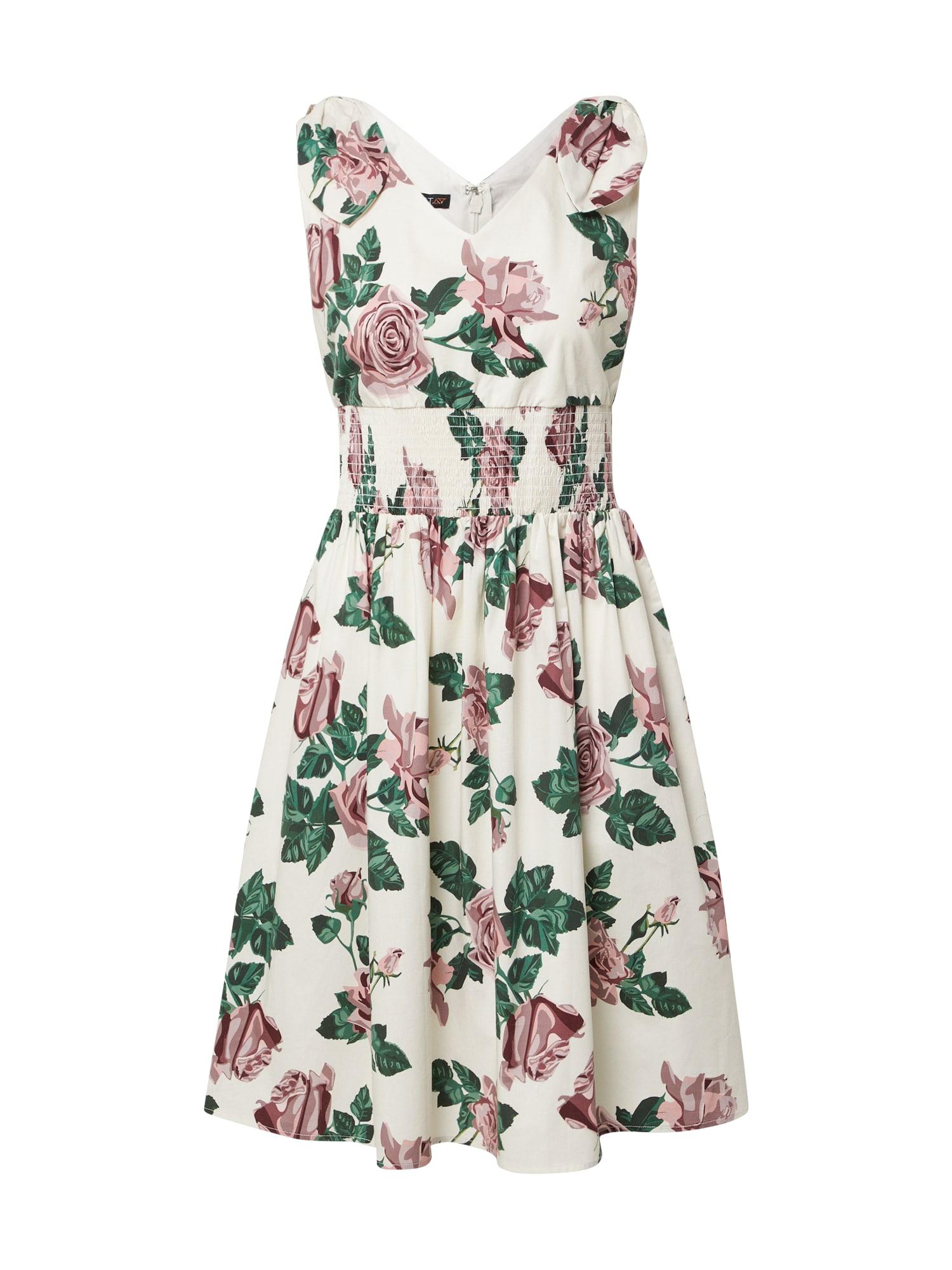 APART Vasarinė suknelė kremo / tamsiai žalia / rožinė