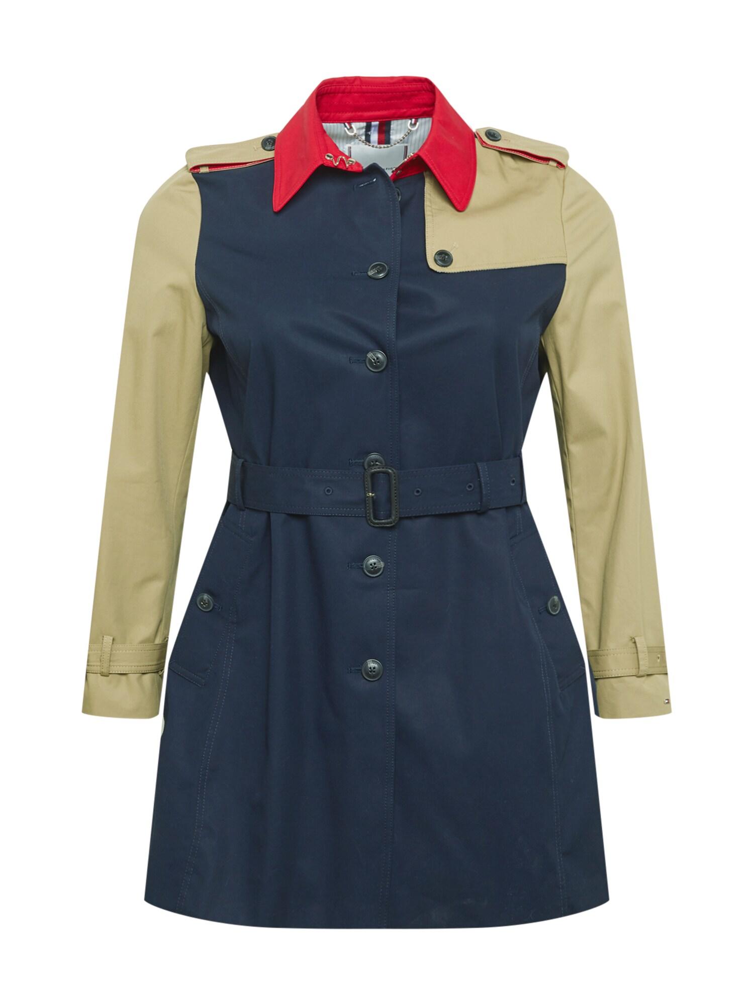 Tommy Hilfiger Curve Demisezoninis paltas tamsiai mėlyna / rusvai žalia / raudona