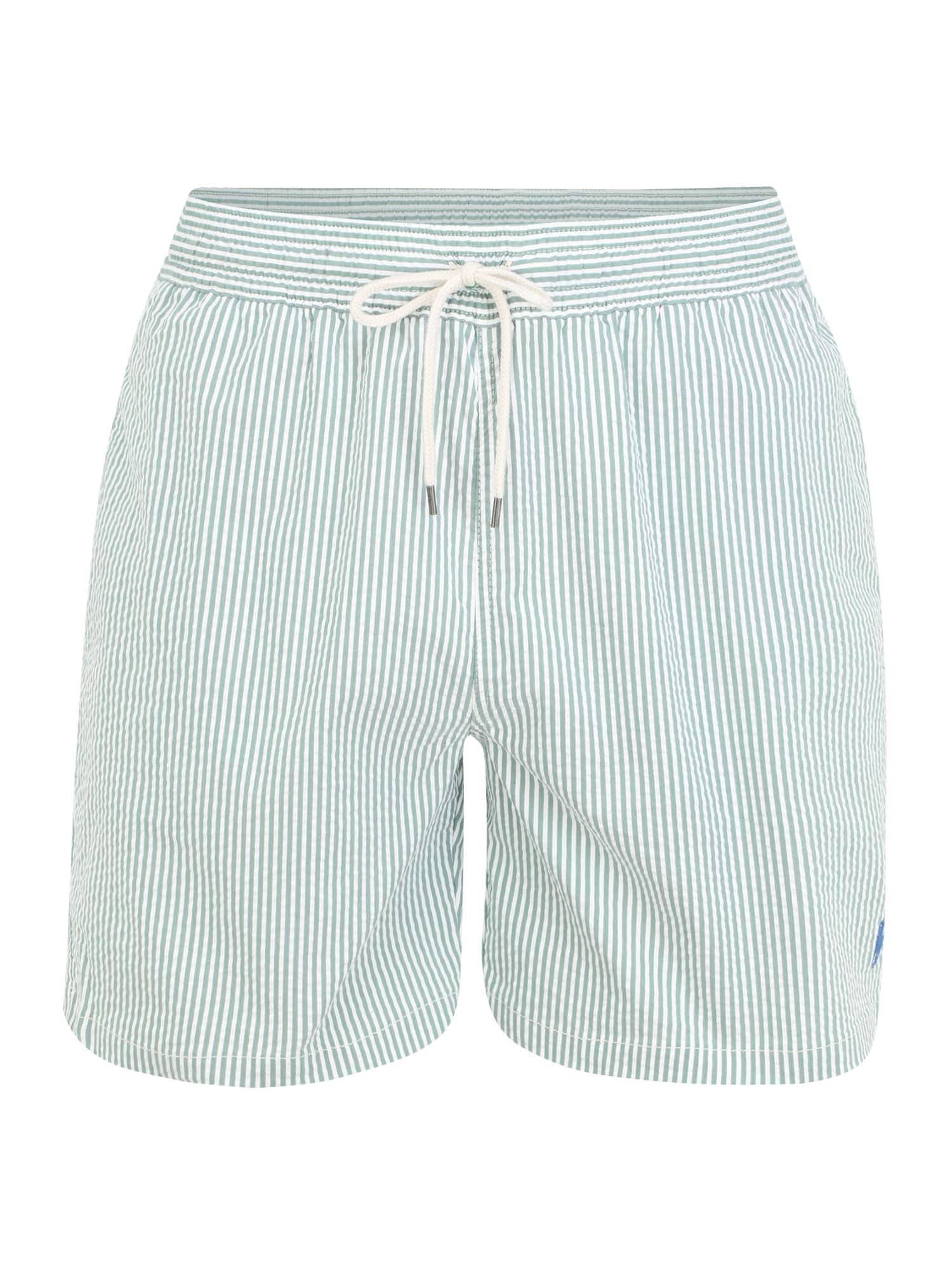 POLO RALPH LAUREN Plavecké šortky 'TRAVELER'  biela / pastelovo zelená