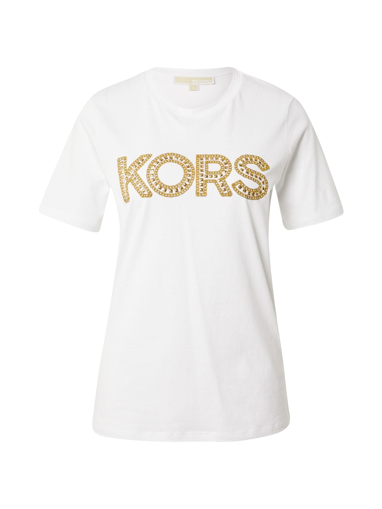 MICHAEL Michael Kors Marškinėliai balta / garstyčių spalva / rusvai oranžinė