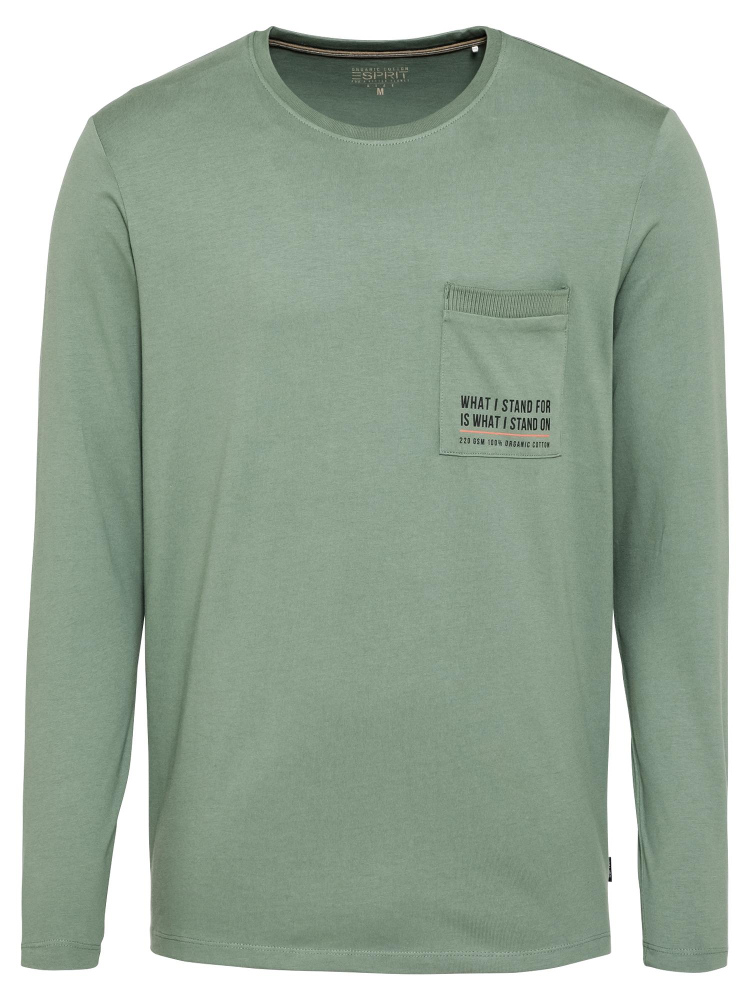 ESPRIT Marškinėliai juoda / nefrito spalva